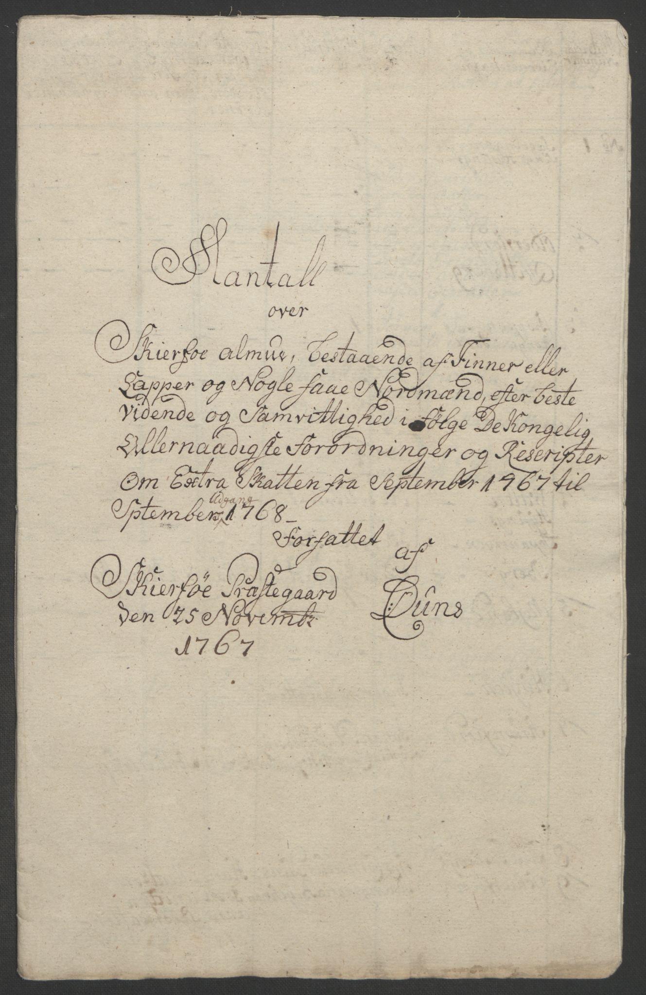 RA, Rentekammeret inntil 1814, Realistisk ordnet avdeling, Ol/L0022b: [Gg 10]: Ekstraskatten, 23.09.1762. Senja og Troms, 1765-1768, s. 294