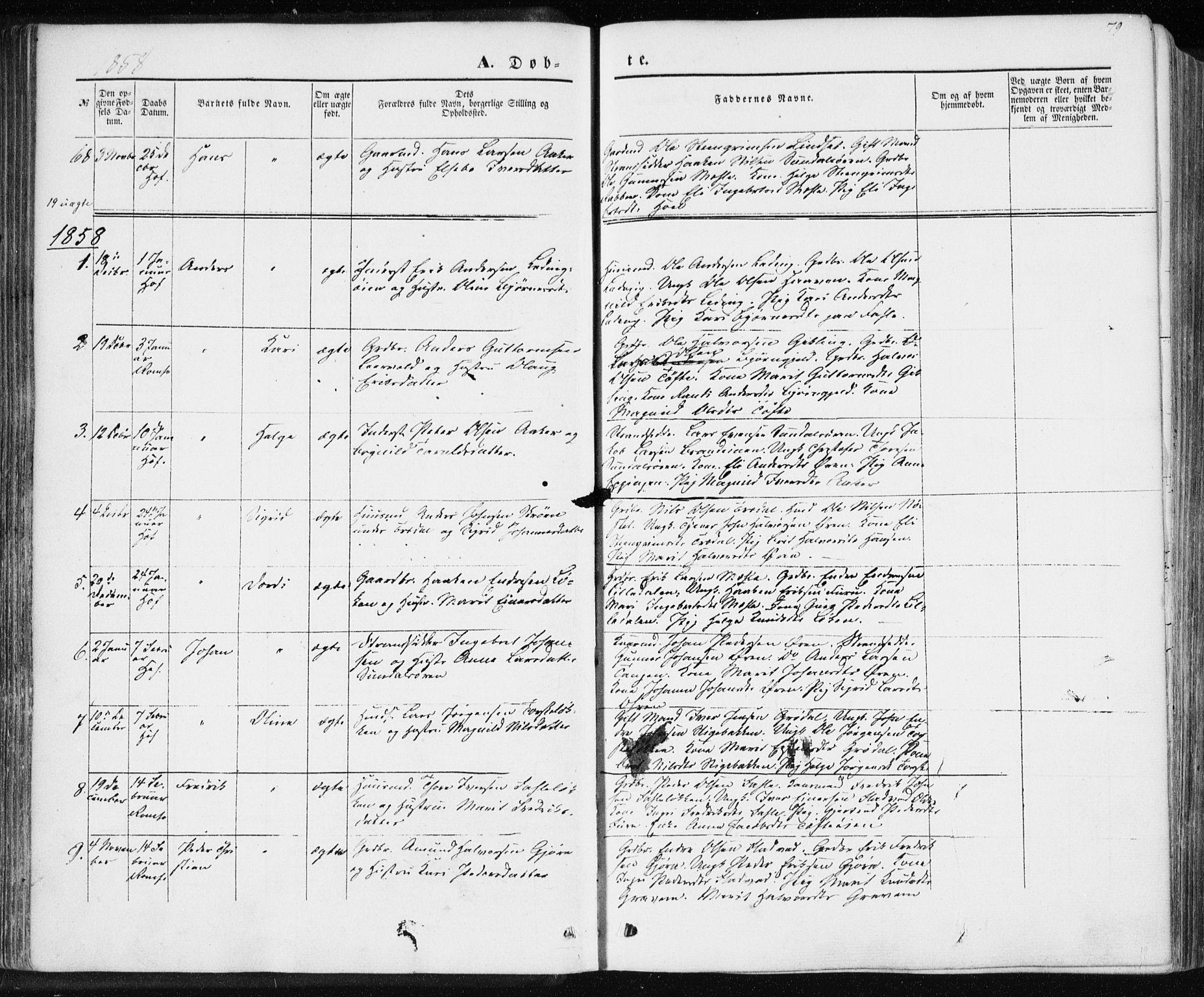SAT, Ministerialprotokoller, klokkerbøker og fødselsregistre - Møre og Romsdal, 590/L1013: Ministerialbok nr. 590A05, 1847-1877, s. 79