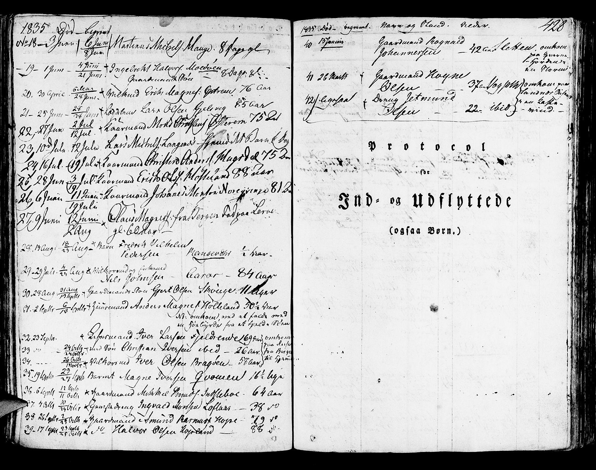SAB, Lindås Sokneprestembete, H/Haa: Ministerialbok nr. A 8, 1823-1836, s. 428
