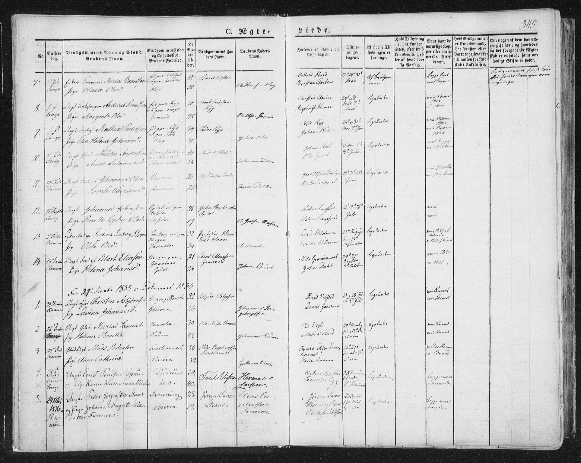 SAT, Ministerialprotokoller, klokkerbøker og fødselsregistre - Nord-Trøndelag, 764/L0552: Ministerialbok nr. 764A07b, 1824-1865, s. 345