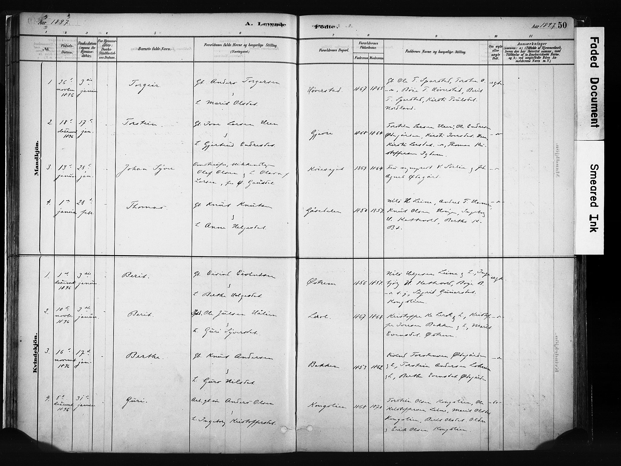 SAH, Vang prestekontor, Valdres, Ministerialbok nr. 8, 1882-1910, s. 50