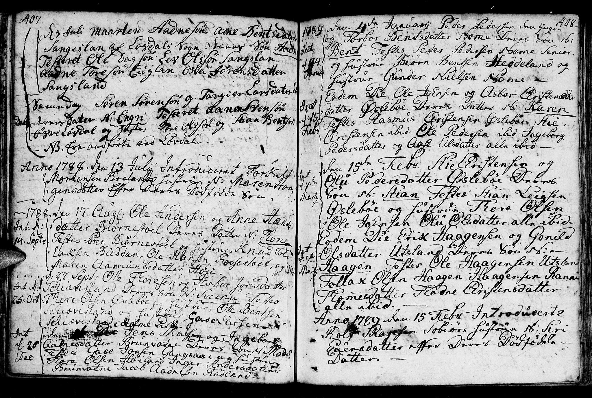 SAK, Holum sokneprestkontor, F/Fa/Fac/L0001: Ministerialbok nr. A 1, 1773-1820, s. 407-408