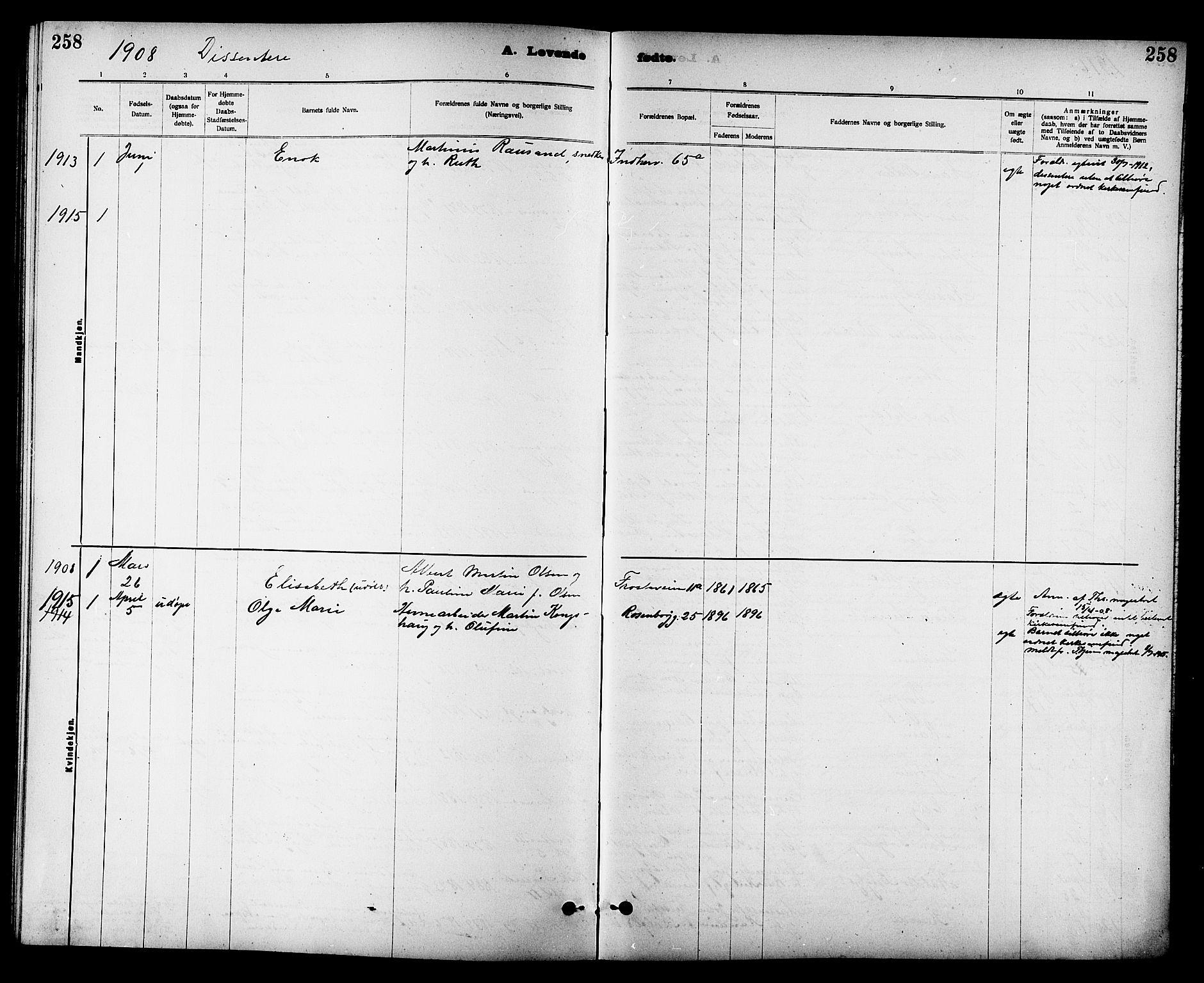SAT, Ministerialprotokoller, klokkerbøker og fødselsregistre - Sør-Trøndelag, 605/L0254: Klokkerbok nr. 605C01, 1908-1916, s. 258
