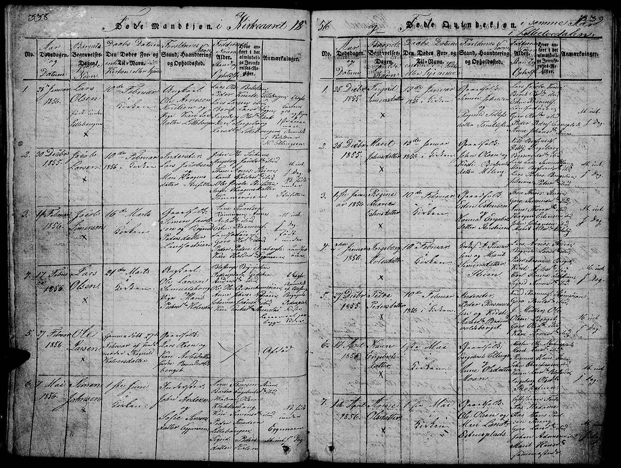 SAH, Tynset prestekontor, Klokkerbok nr. 2, 1814-1862, s. 338-339