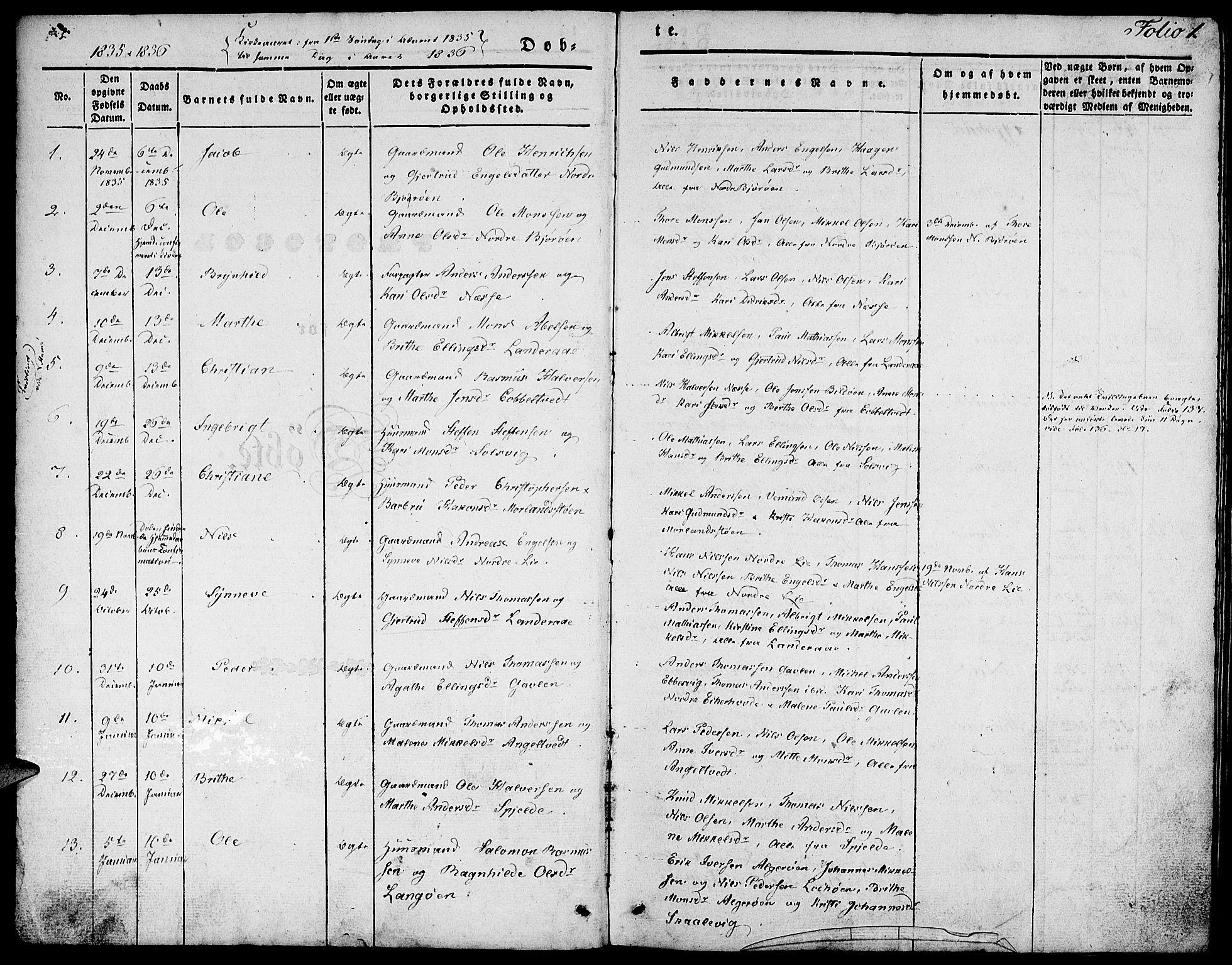SAB, Fjell Sokneprestembete, H/Haa: Ministerialbok nr. A 1, 1835-1850, s. 1