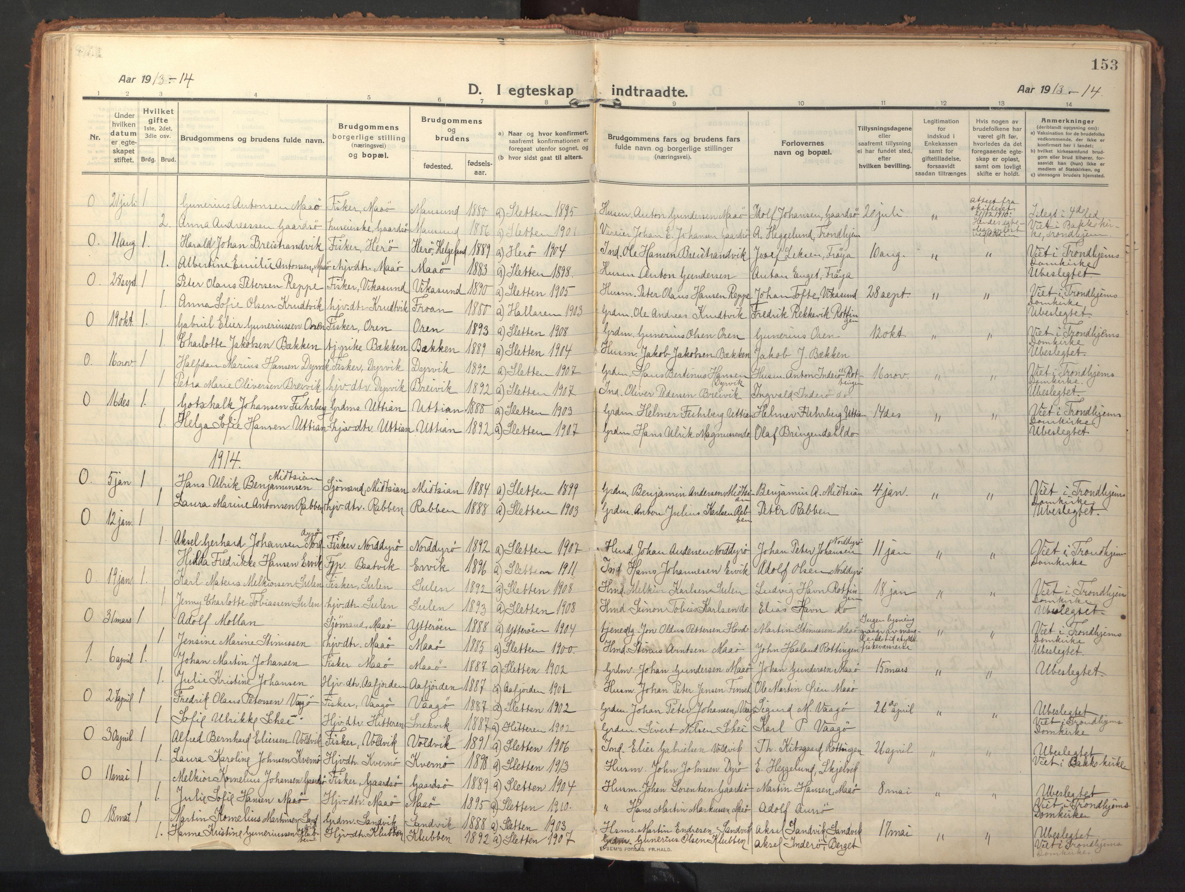 SAT, Ministerialprotokoller, klokkerbøker og fødselsregistre - Sør-Trøndelag, 640/L0581: Ministerialbok nr. 640A06, 1910-1924, s. 153