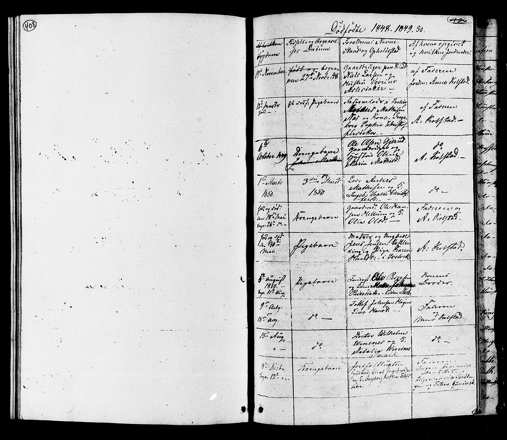 SAKO, Hurum kirkebøker, G/Ga/L0002: Klokkerbok nr. I 2, 1827-1857, s. 408