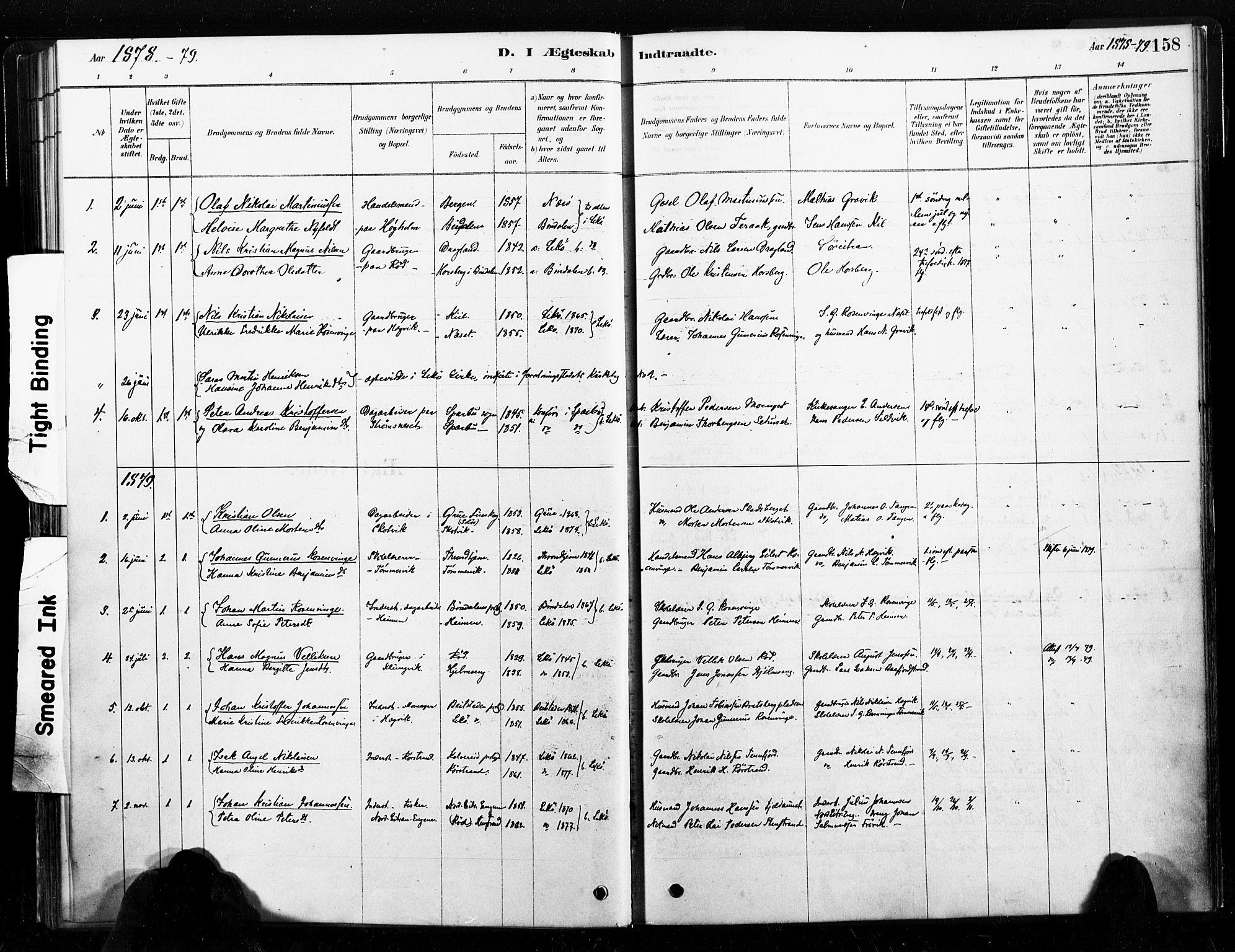 SAT, Ministerialprotokoller, klokkerbøker og fødselsregistre - Nord-Trøndelag, 789/L0705: Ministerialbok nr. 789A01, 1878-1910, s. 158
