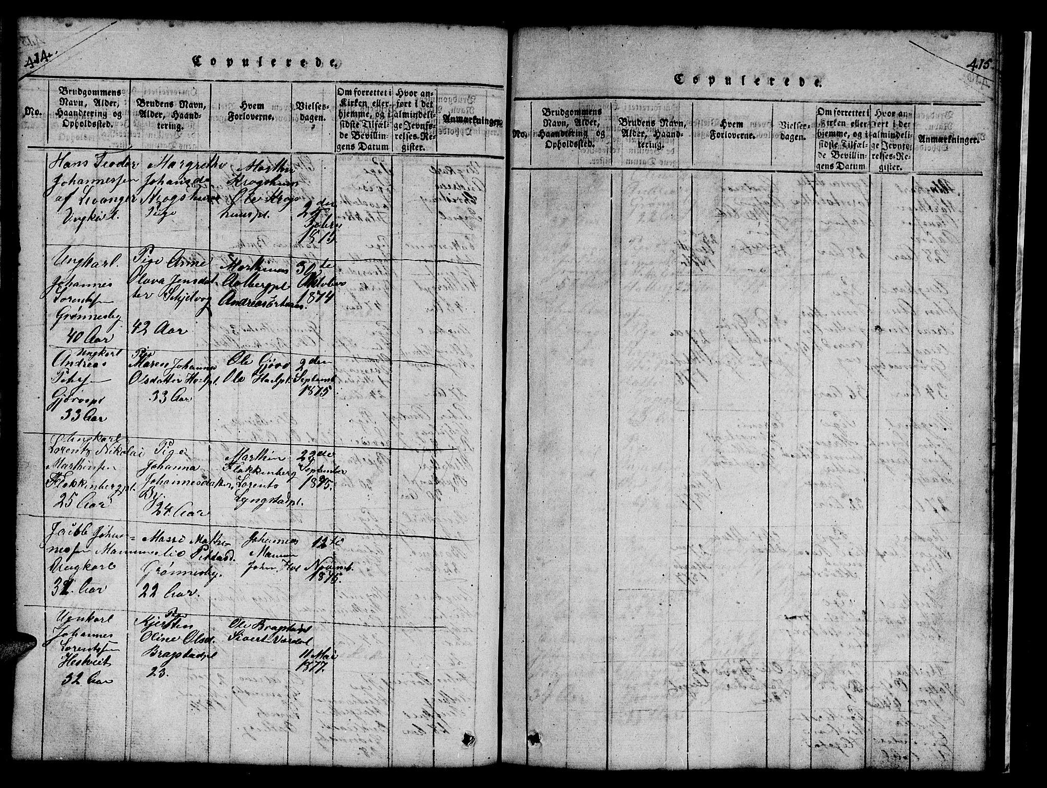 SAT, Ministerialprotokoller, klokkerbøker og fødselsregistre - Nord-Trøndelag, 732/L0317: Klokkerbok nr. 732C01, 1816-1881, s. 414-415