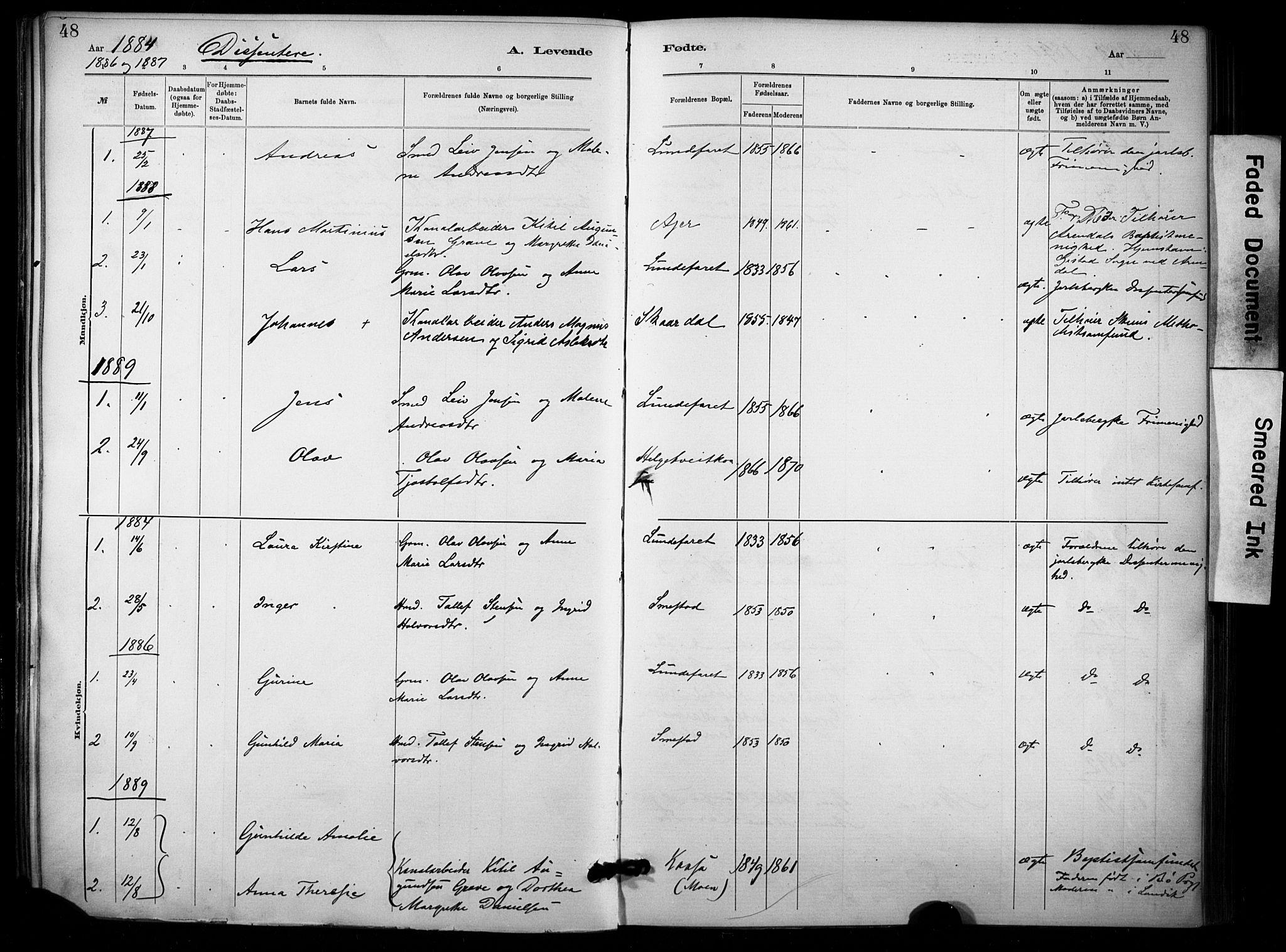 SAKO, Lunde kirkebøker, F/Fa/L0002: Ministerialbok nr. I 2, 1884-1892, s. 48
