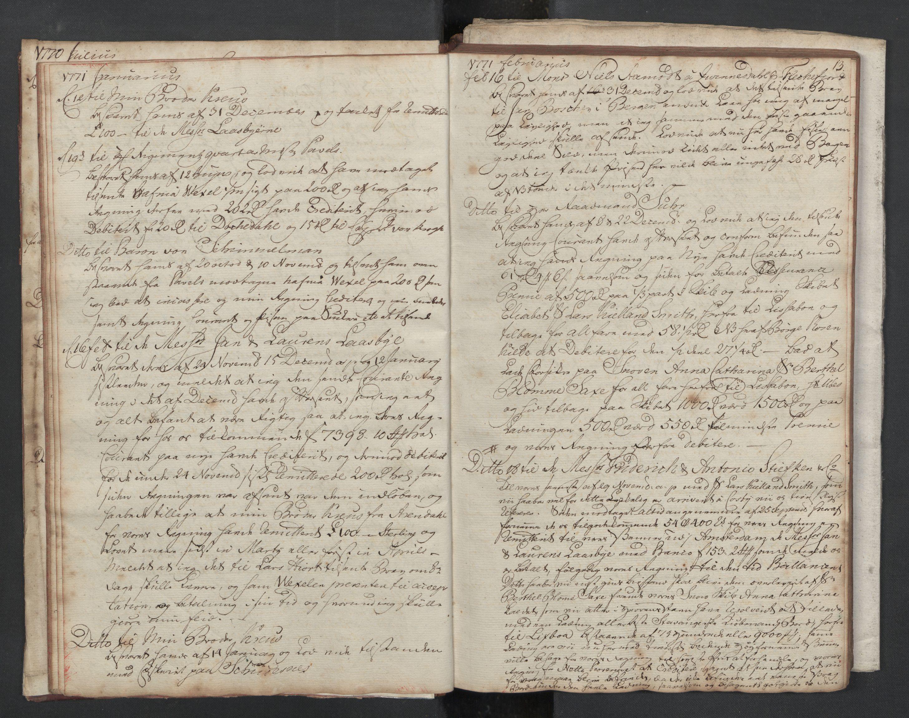 SAST, Pa 0003 - Ploug & Sundt, handelshuset, B/L0002: Kopibok, 1770-1775, s. 12b-13a