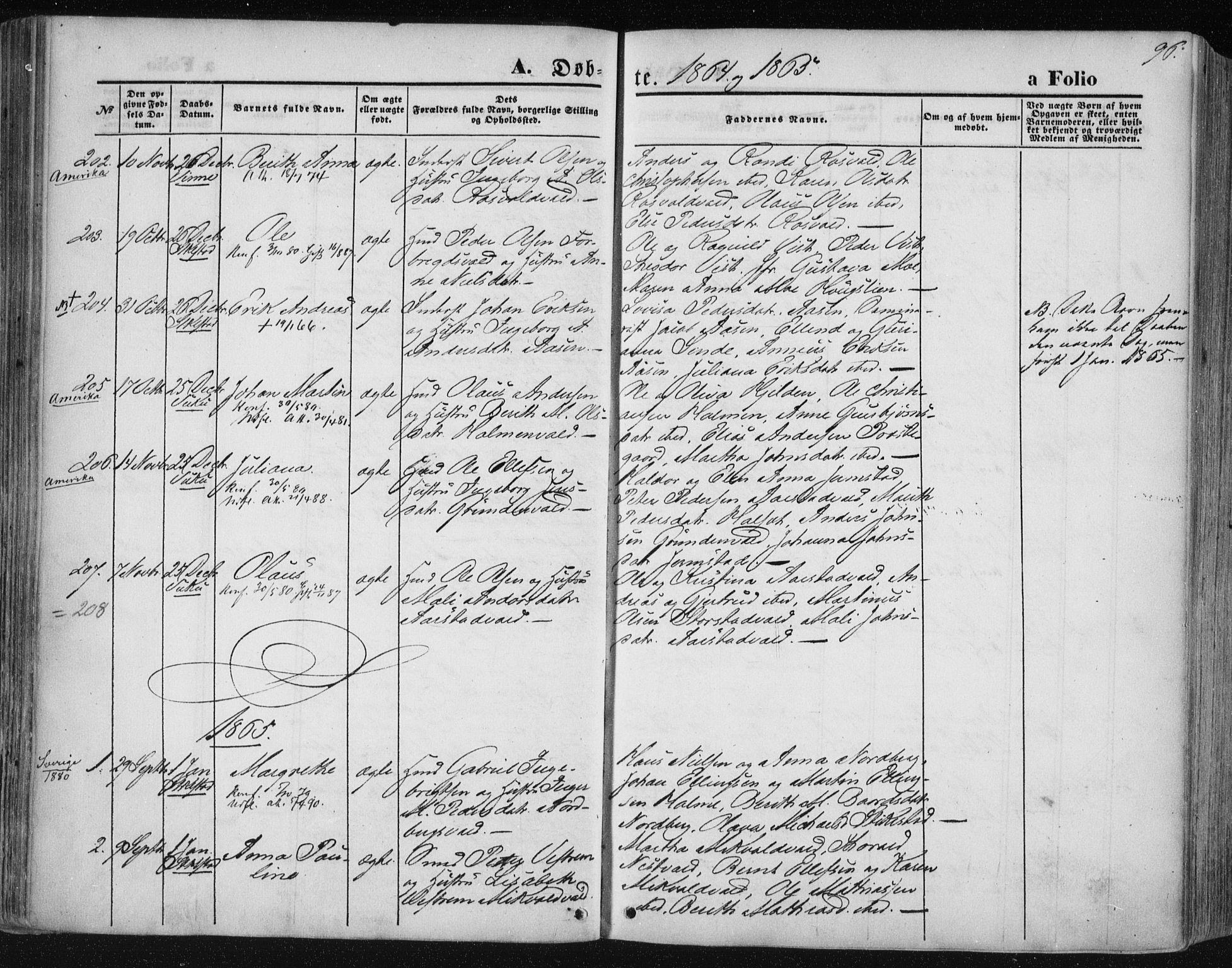 SAT, Ministerialprotokoller, klokkerbøker og fødselsregistre - Nord-Trøndelag, 723/L0241: Ministerialbok nr. 723A10, 1860-1869, s. 96