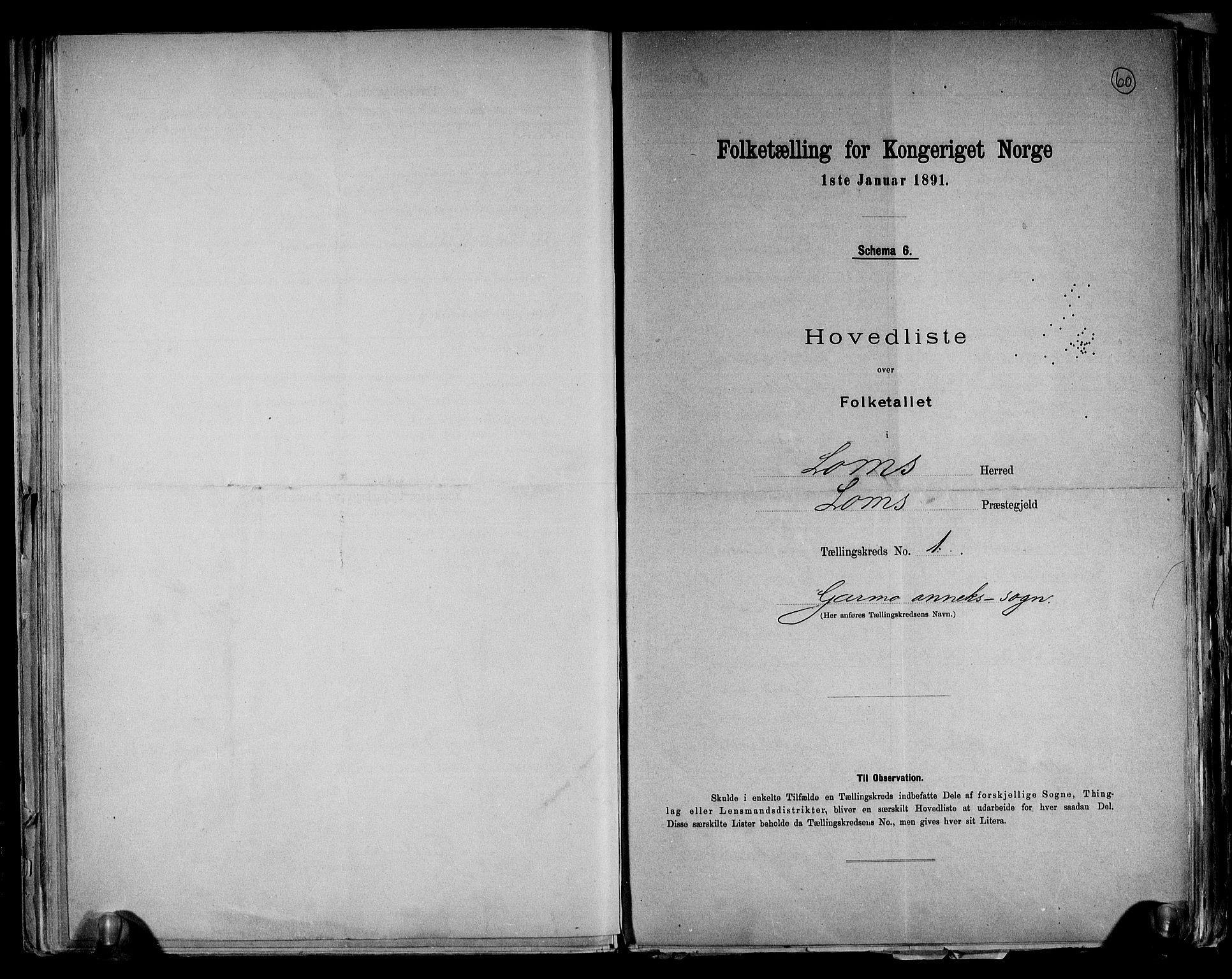 RA, Folketelling 1891 for 0514 Lom herred, 1891, s. 4