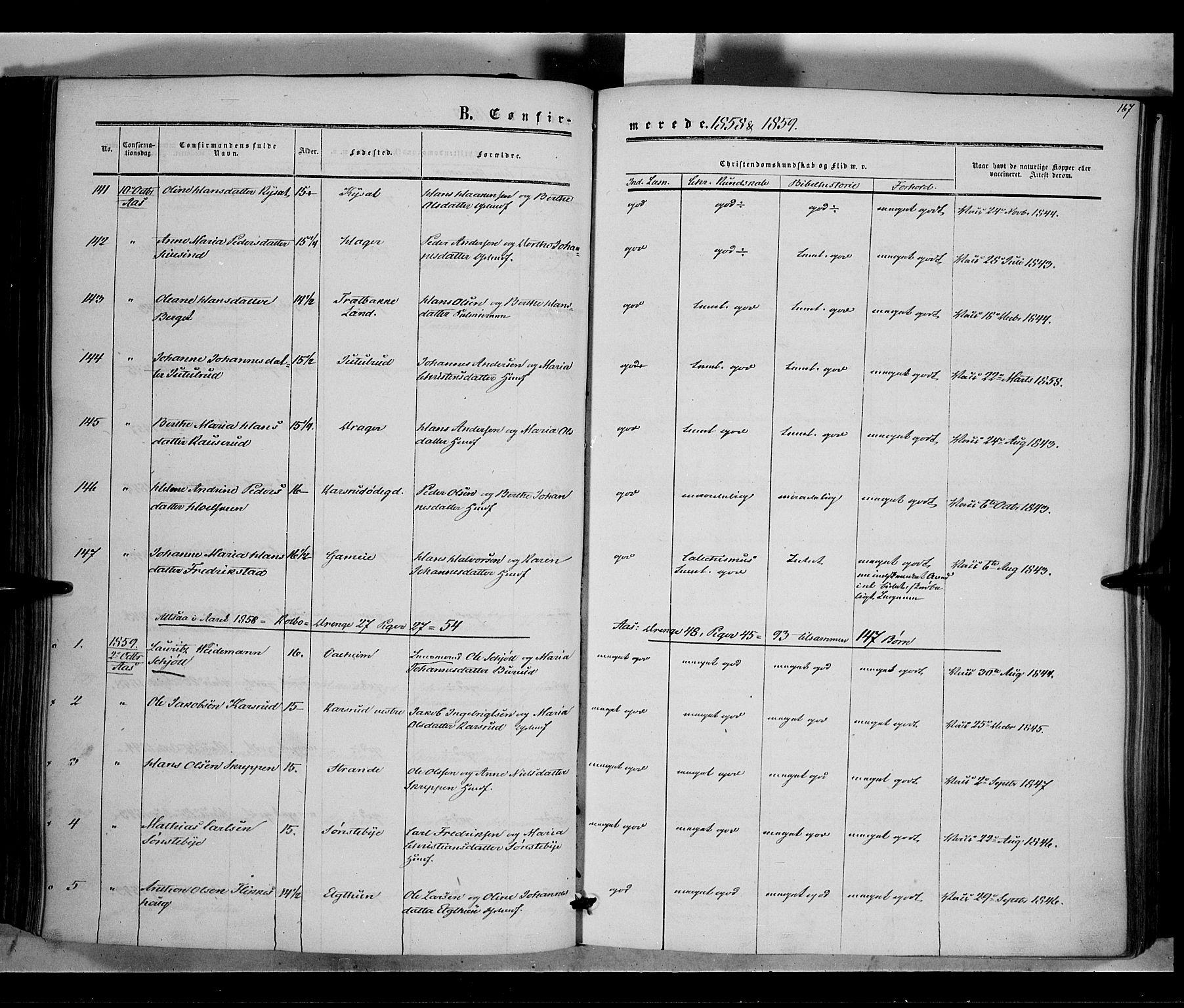 SAH, Vestre Toten prestekontor, Ministerialbok nr. 6, 1856-1861, s. 167