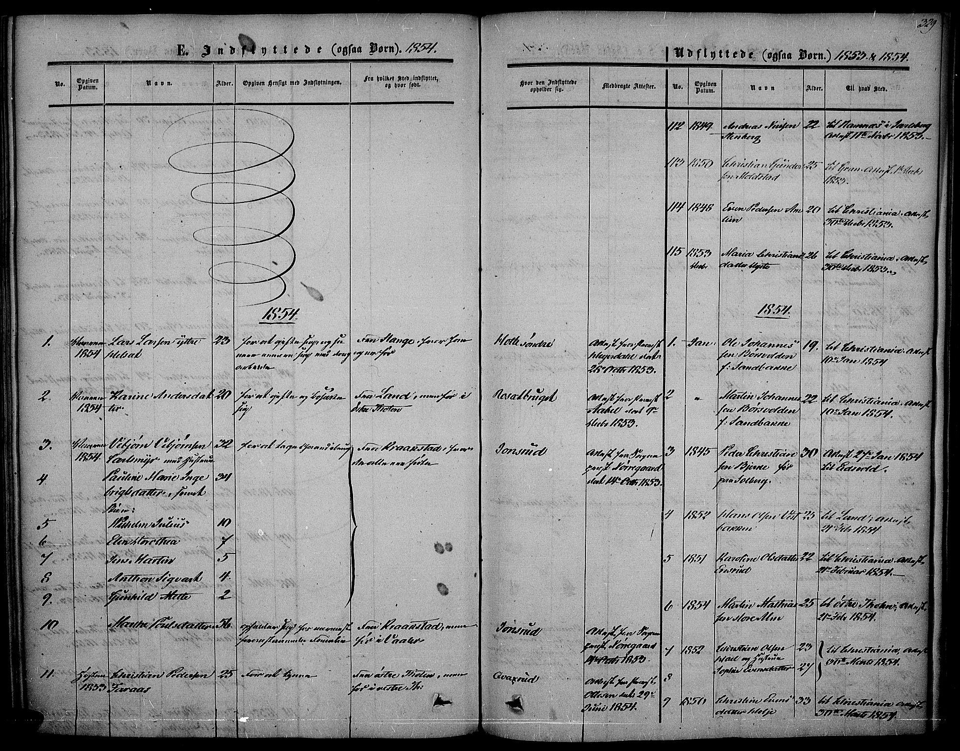 SAH, Vestre Toten prestekontor, Ministerialbok nr. 5, 1850-1855, s. 329
