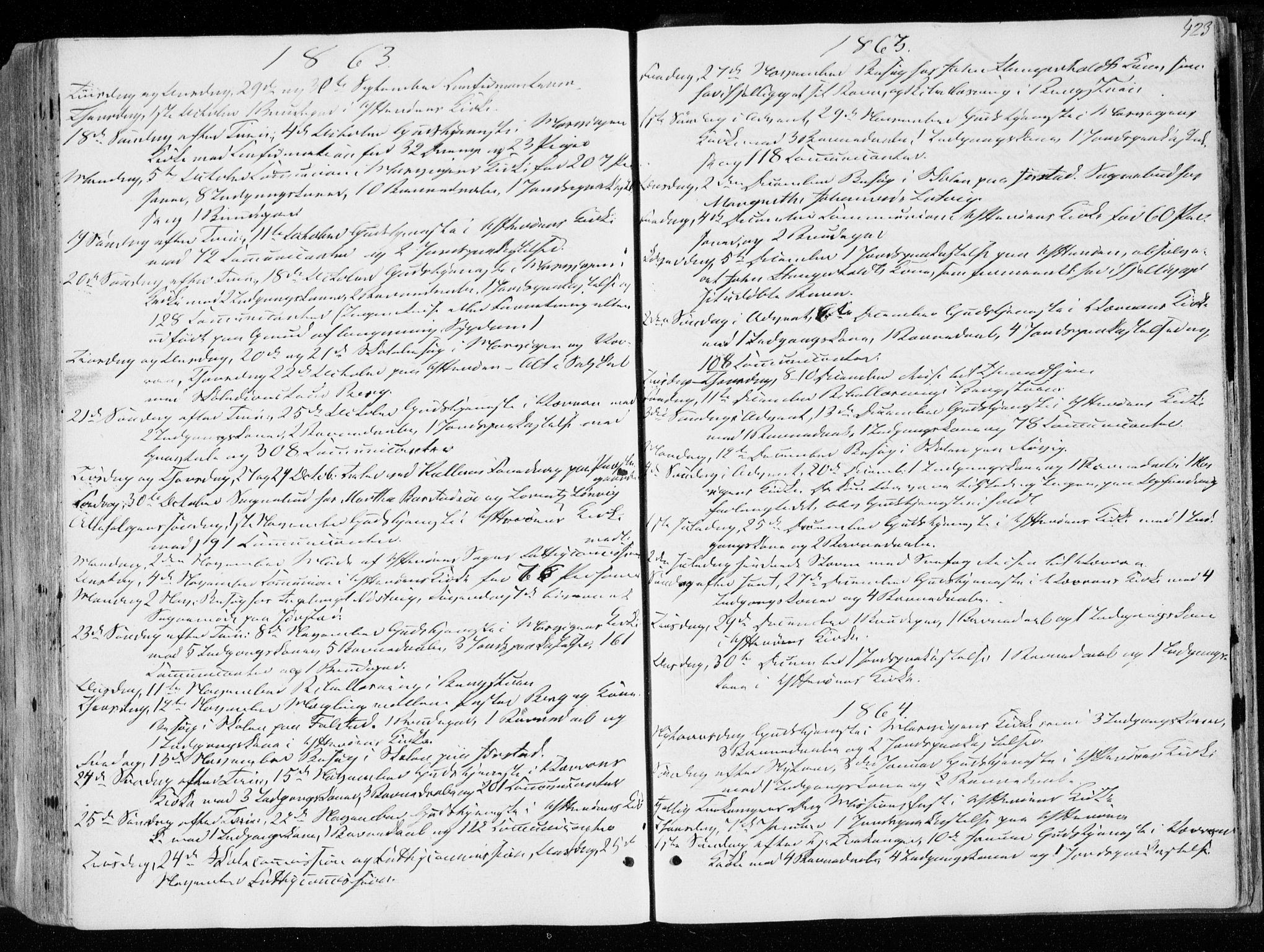 SAT, Ministerialprotokoller, klokkerbøker og fødselsregistre - Nord-Trøndelag, 722/L0218: Ministerialbok nr. 722A05, 1843-1868, s. 423