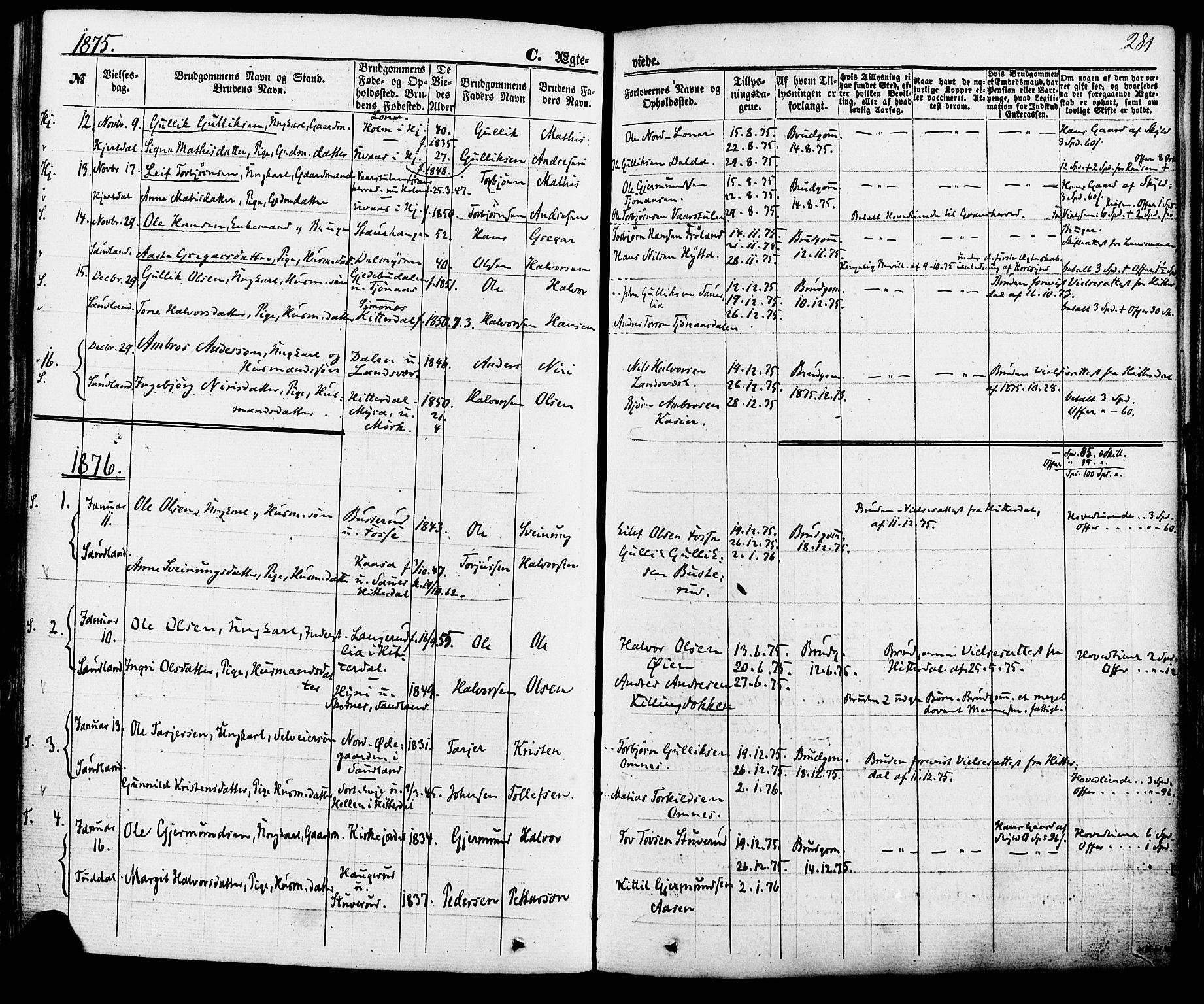 SAKO, Hjartdal kirkebøker, F/Fa/L0009: Ministerialbok nr. I 9, 1860-1879, s. 281
