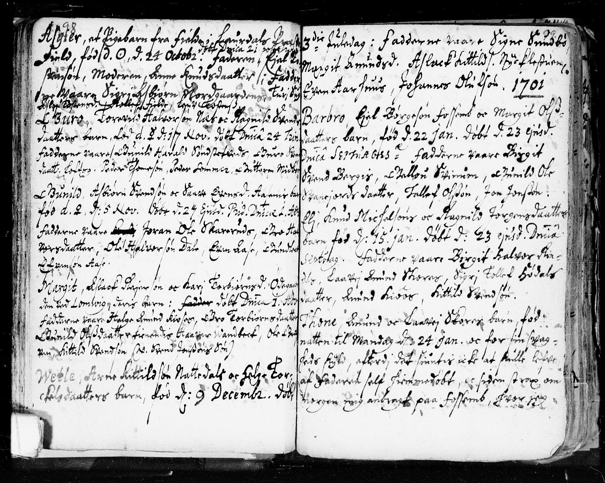 SAKO, Seljord kirkebøker, F/Fa/L0002: Ministerialbok nr. I 2, 1689-1713, s. 98-99