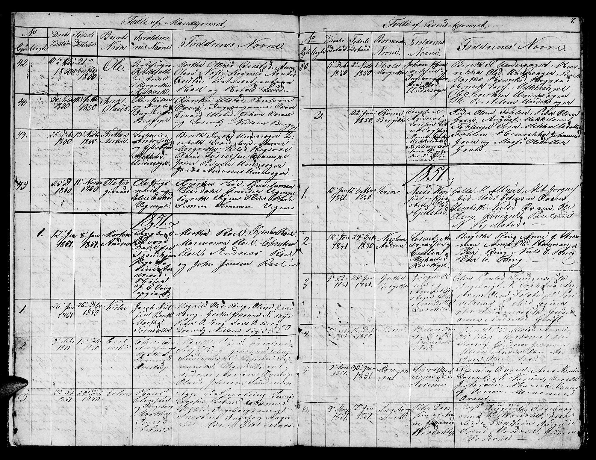 SAT, Ministerialprotokoller, klokkerbøker og fødselsregistre - Nord-Trøndelag, 730/L0299: Klokkerbok nr. 730C02, 1849-1871, s. 7
