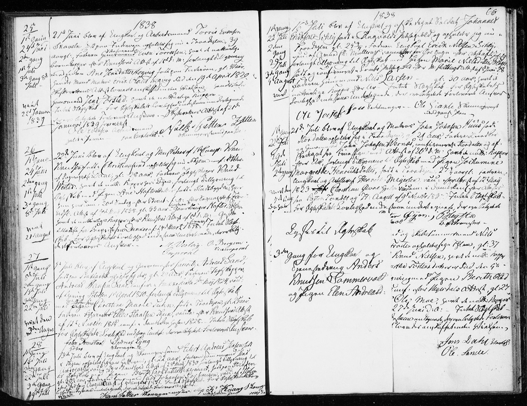 SAT, Ministerialprotokoller, klokkerbøker og fødselsregistre - Sør-Trøndelag, 601/L0046: Ministerialbok nr. 601A14, 1830-1841, s. 66