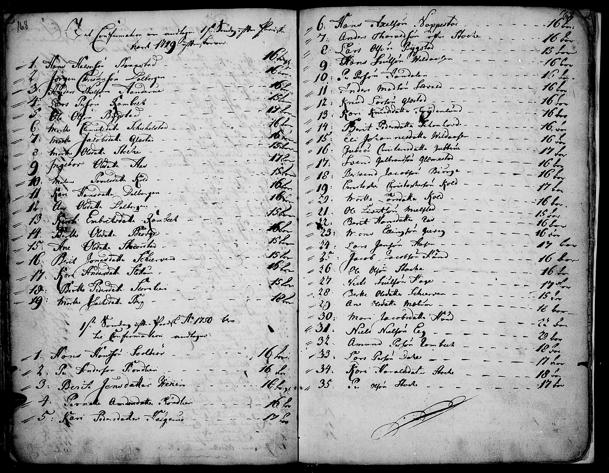 SAH, Vardal prestekontor, H/Ha/Haa/L0002: Ministerialbok nr. 2, 1748-1776, s. 168-169