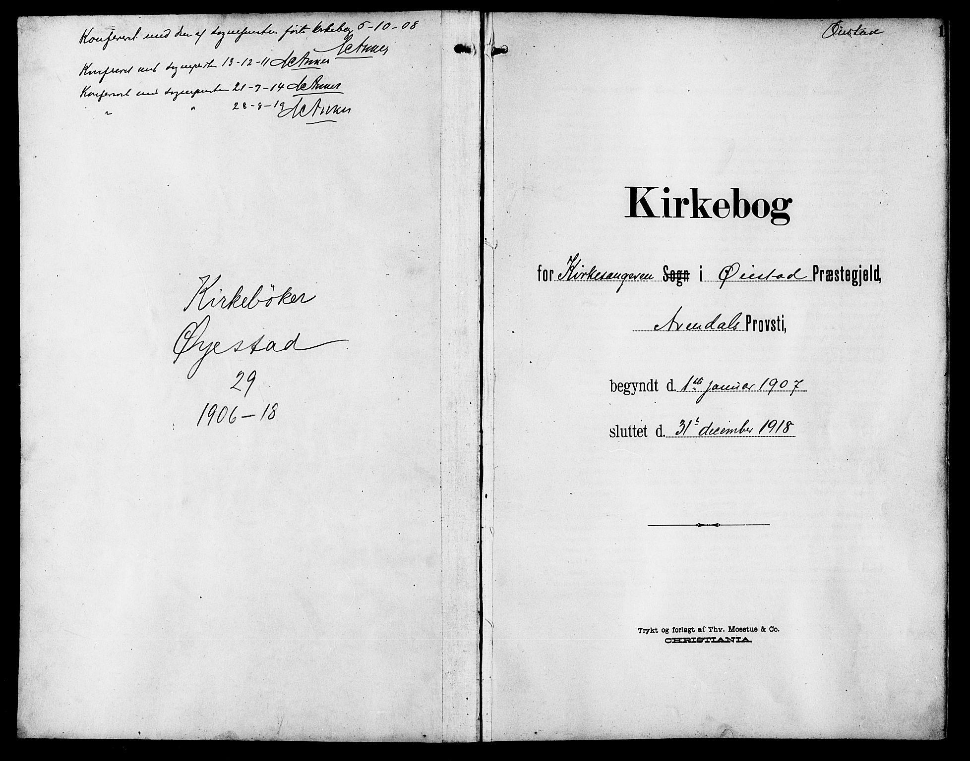 SAK, Øyestad sokneprestkontor, F/Fb/L0011: Klokkerbok nr. B 11, 1906-1918, s. 1