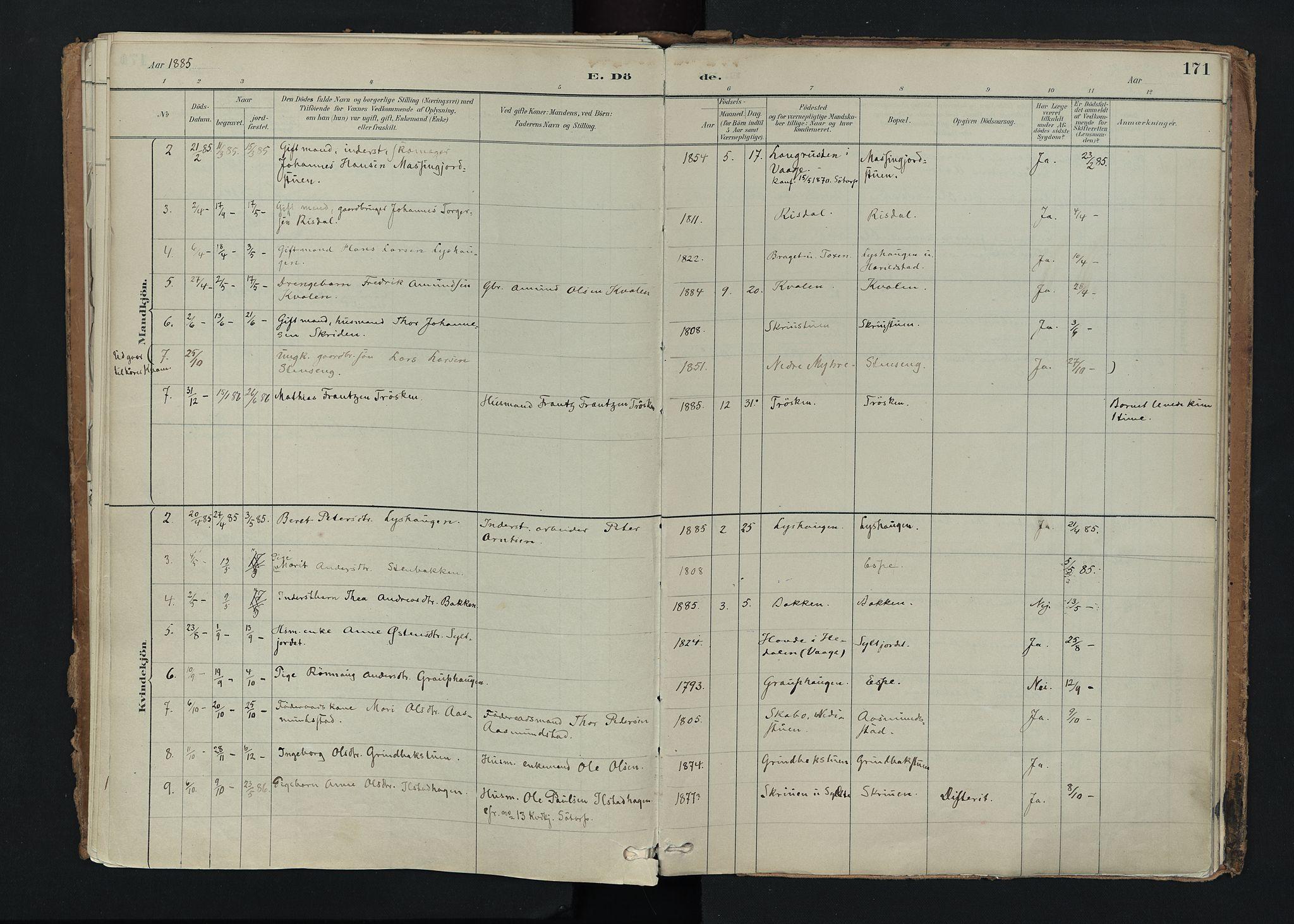 SAH, Nord-Fron prestekontor, Ministerialbok nr. 5, 1884-1914, s. 171