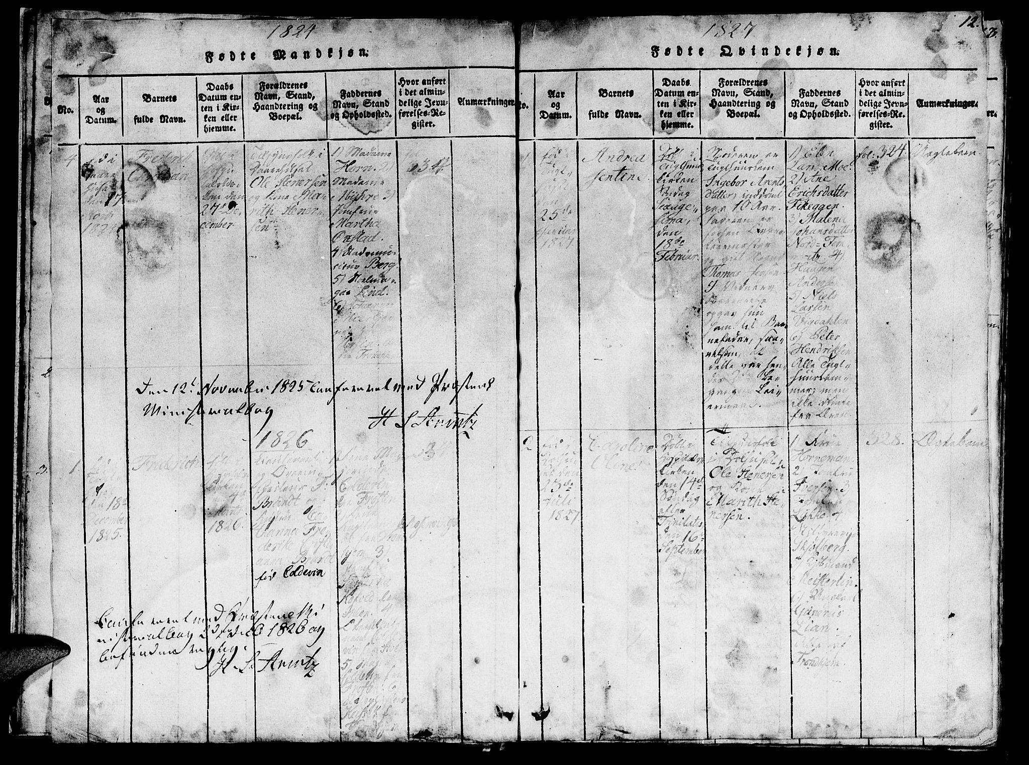 SAT, Ministerialprotokoller, klokkerbøker og fødselsregistre - Sør-Trøndelag, 623/L0478: Klokkerbok nr. 623C01, 1815-1873, s. 12