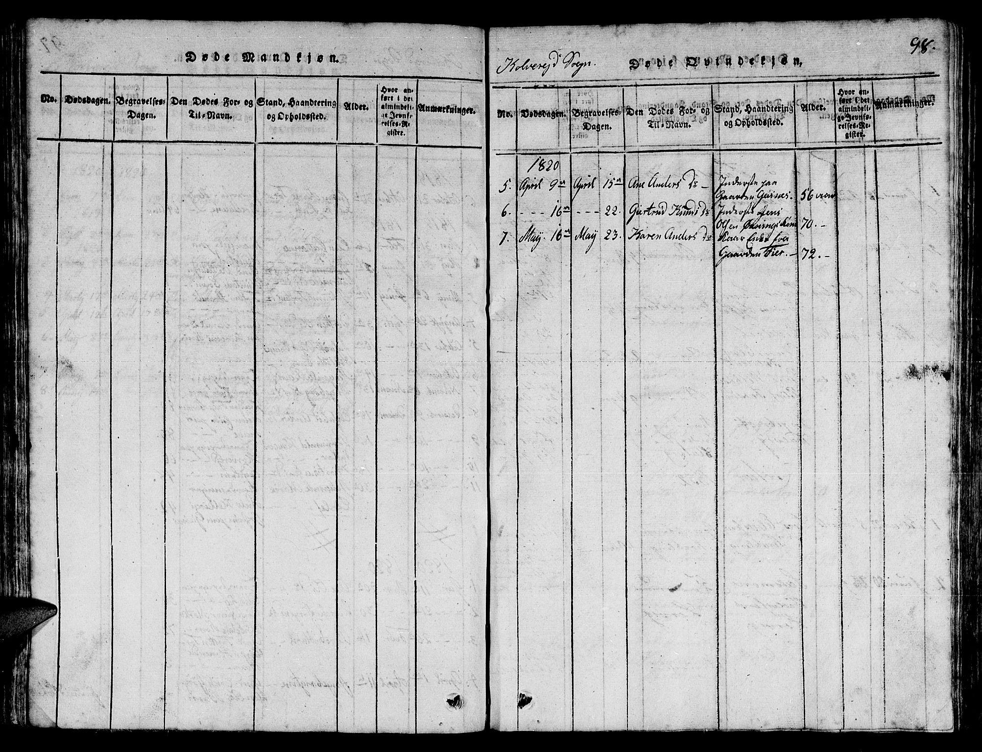 SAT, Ministerialprotokoller, klokkerbøker og fødselsregistre - Nord-Trøndelag, 780/L0648: Klokkerbok nr. 780C01 /1, 1815-1870, s. 98
