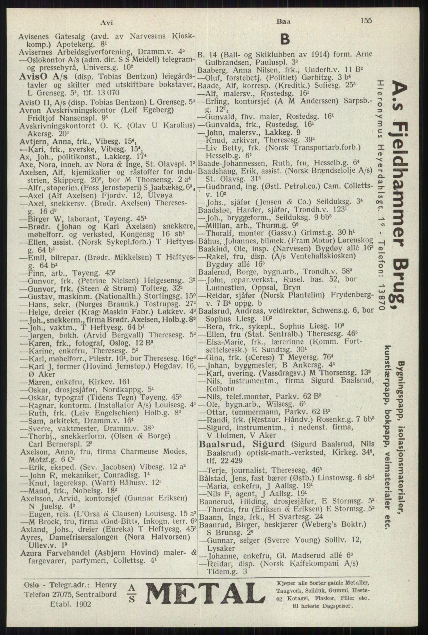 RA, Oslo adressebok (publikasjon)*, 1941, s. 155