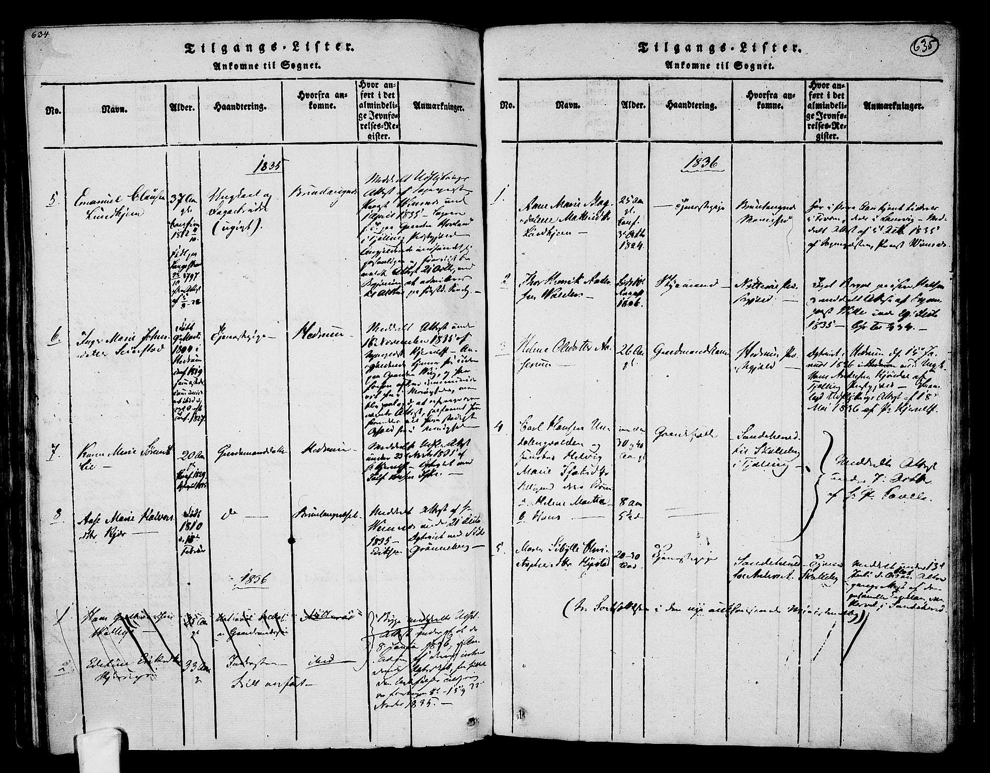 SAKO, Tjølling kirkebøker, F/Fa/L0005: Ministerialbok nr. 5, 1814-1836, s. 634-635
