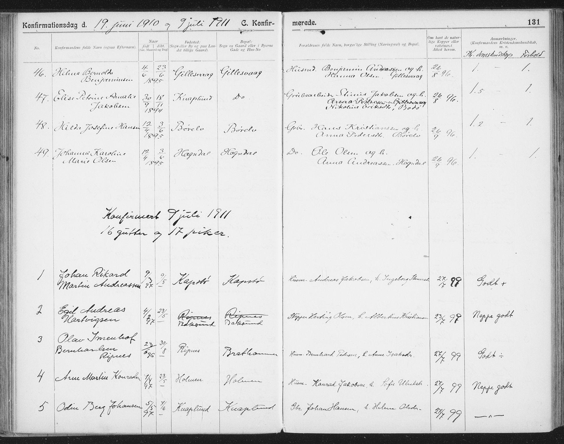 SAT, Ministerialprotokoller, klokkerbøker og fødselsregistre - Nordland, 804/L0081: Ministerialbok nr. 804A02, 1901-1915, s. 131
