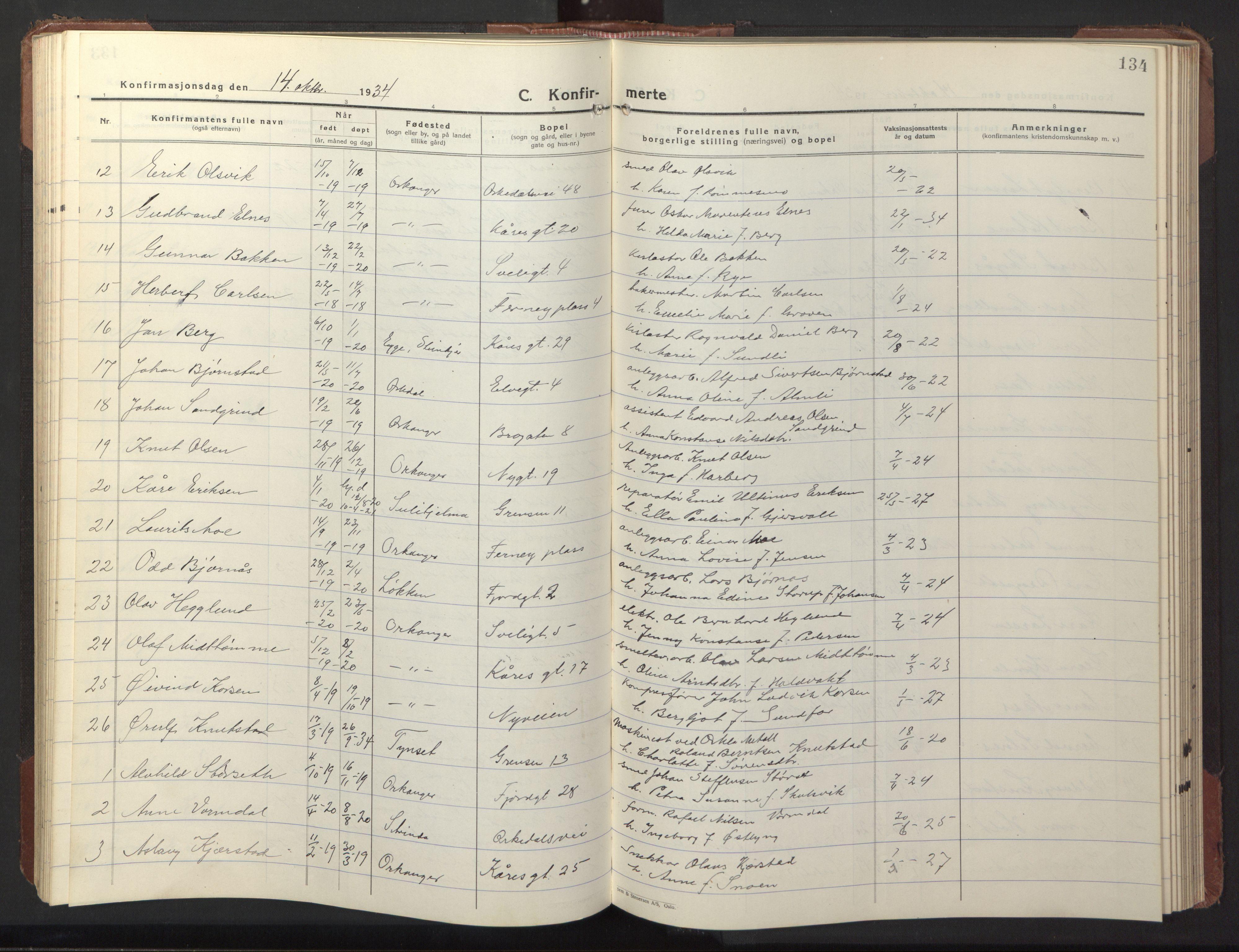 SAT, Ministerialprotokoller, klokkerbøker og fødselsregistre - Sør-Trøndelag, 669/L0832: Klokkerbok nr. 669C02, 1925-1953, s. 134