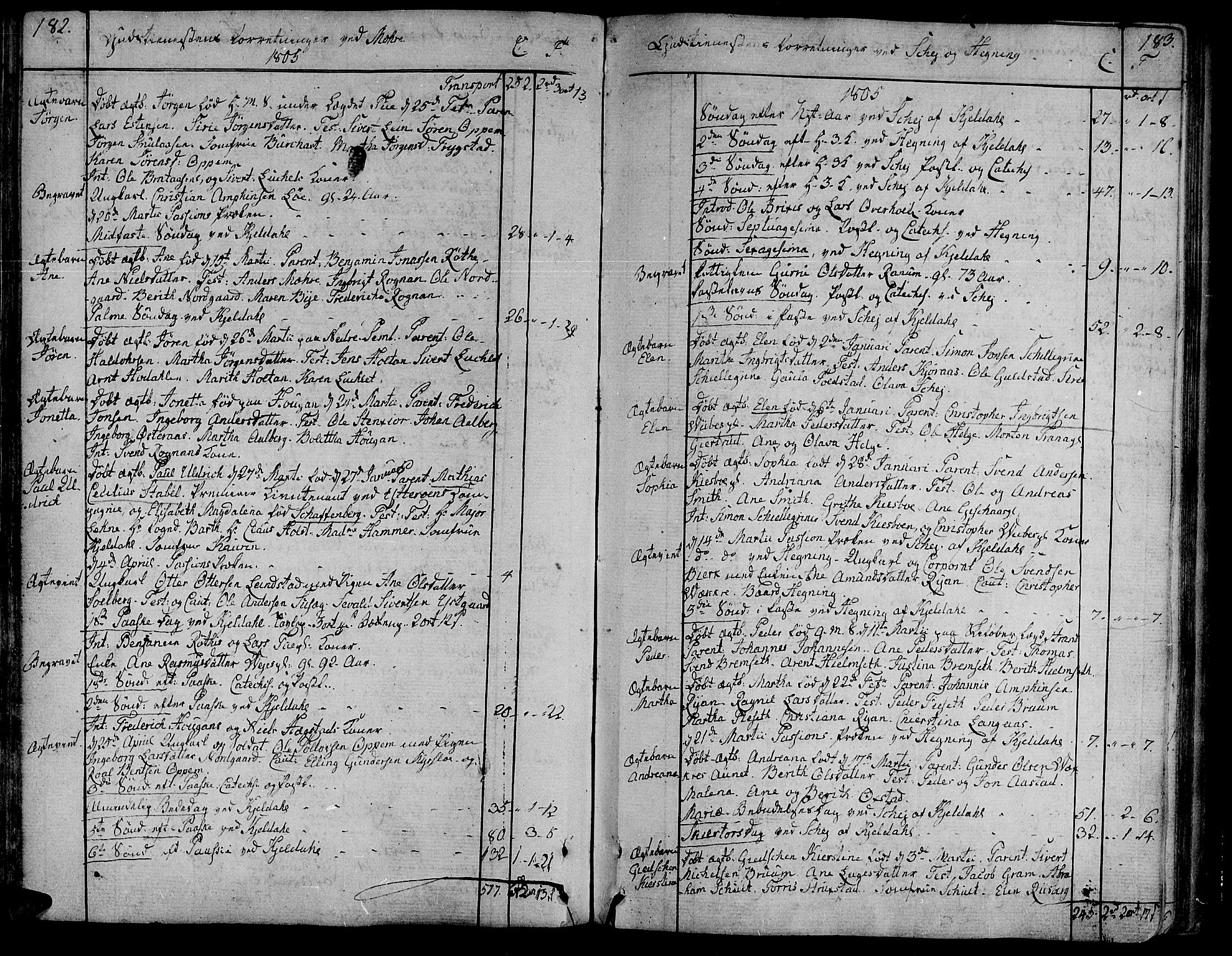 SAT, Ministerialprotokoller, klokkerbøker og fødselsregistre - Nord-Trøndelag, 735/L0332: Ministerialbok nr. 735A03, 1795-1816, s. 182-183