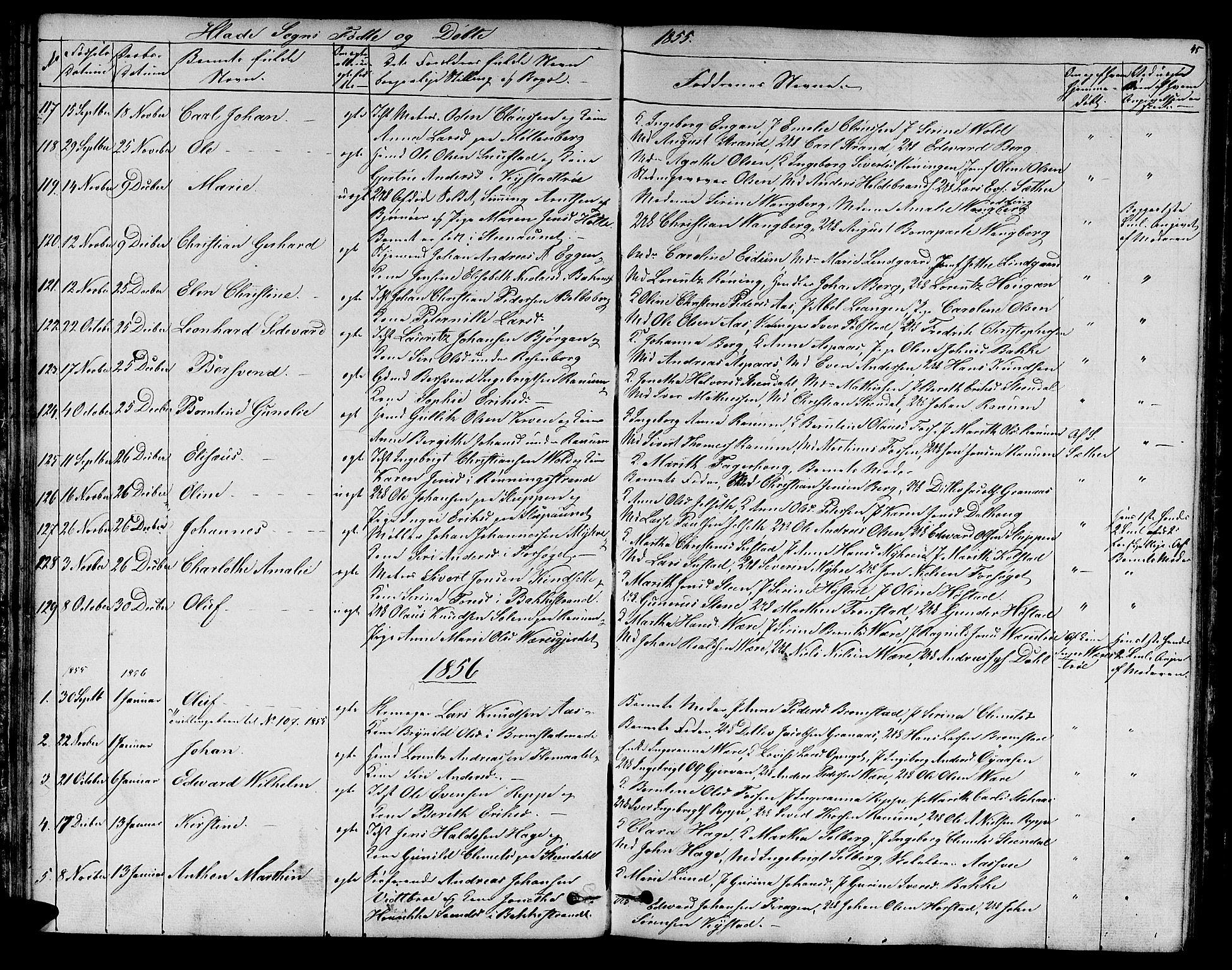 SAT, Ministerialprotokoller, klokkerbøker og fødselsregistre - Sør-Trøndelag, 606/L0310: Klokkerbok nr. 606C06, 1850-1859, s. 45
