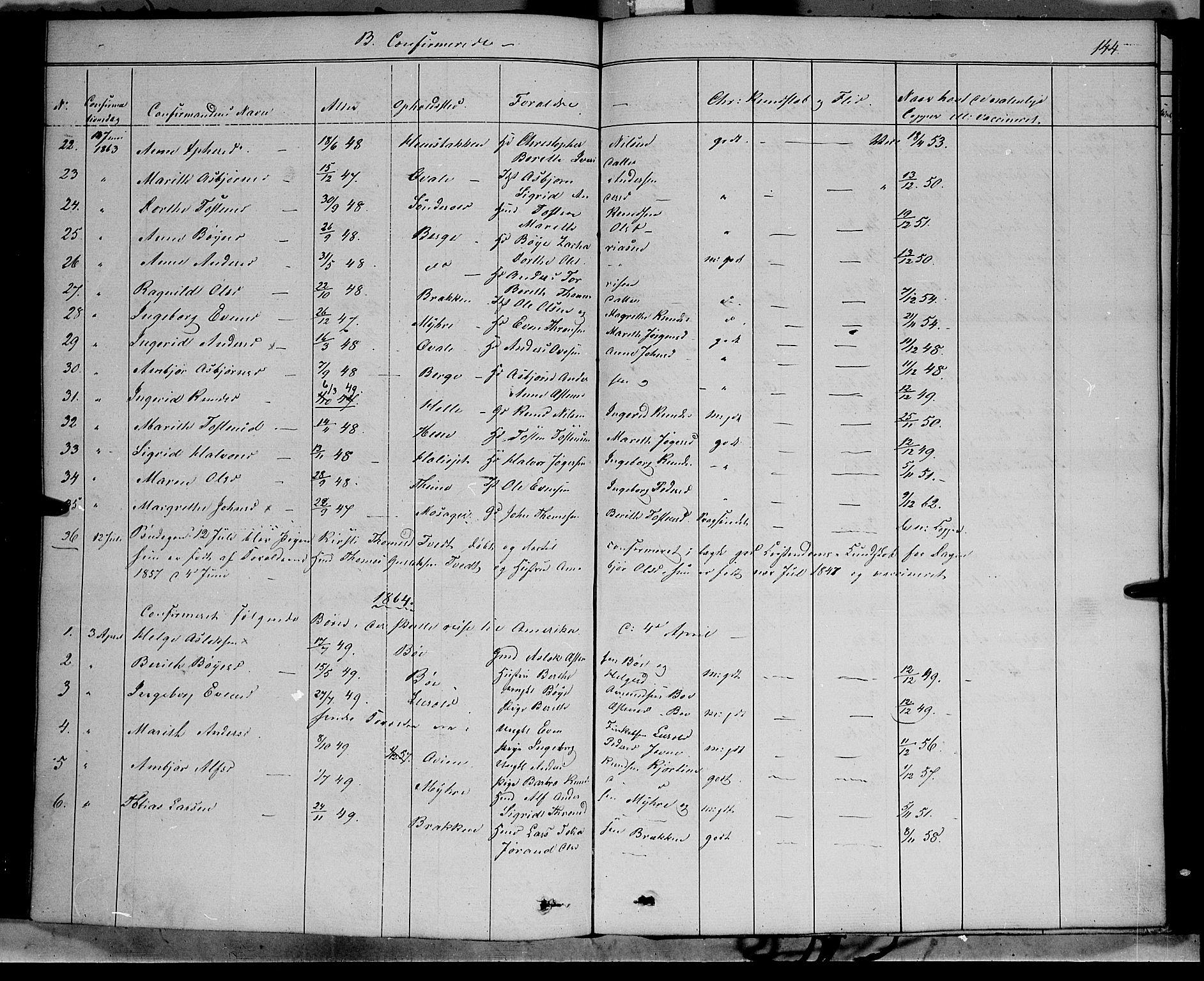 SAH, Vang prestekontor, Valdres, Ministerialbok nr. 6, 1846-1864, s. 144