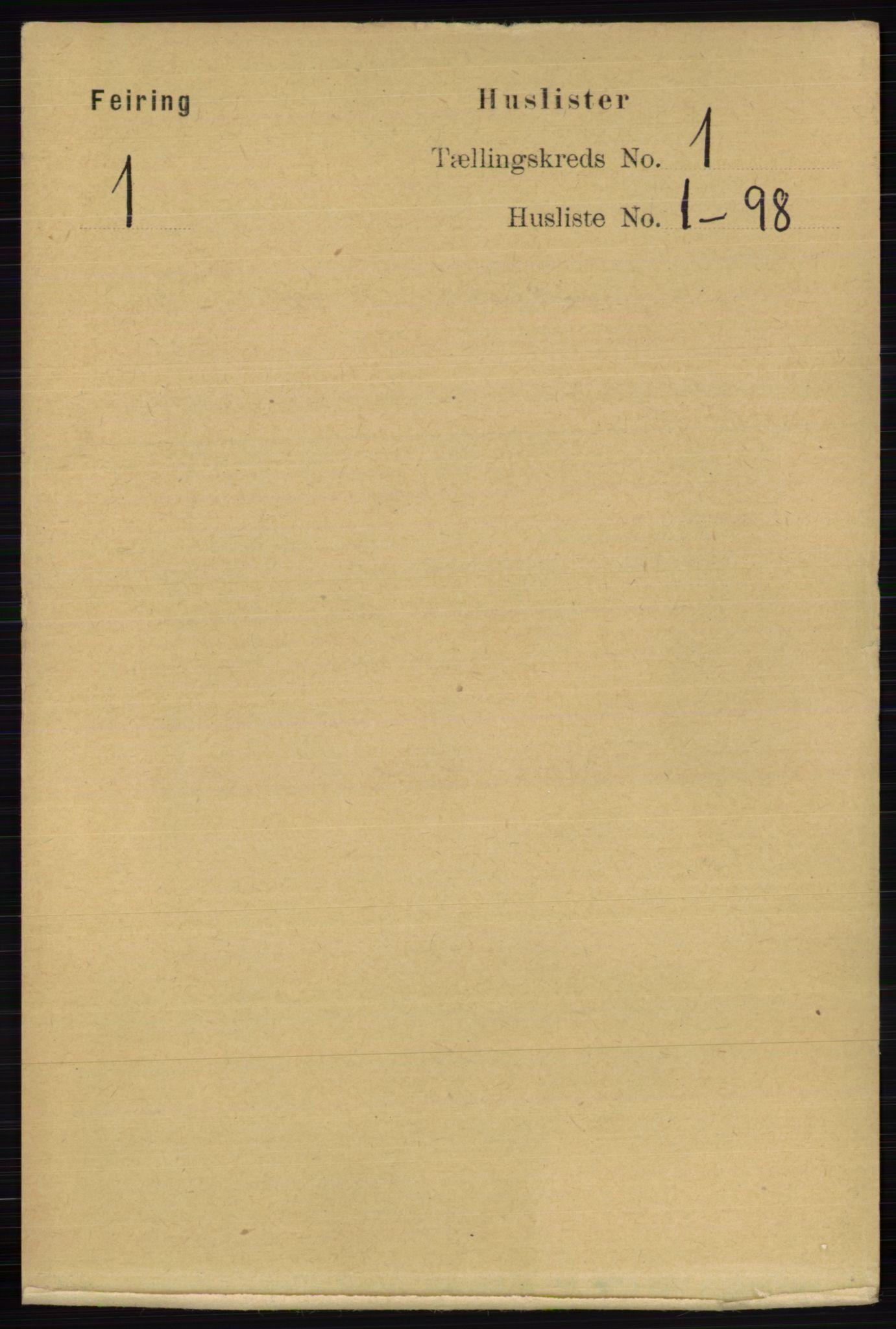 RA, Folketelling 1891 for 0240 Feiring herred, 1891, s. 10
