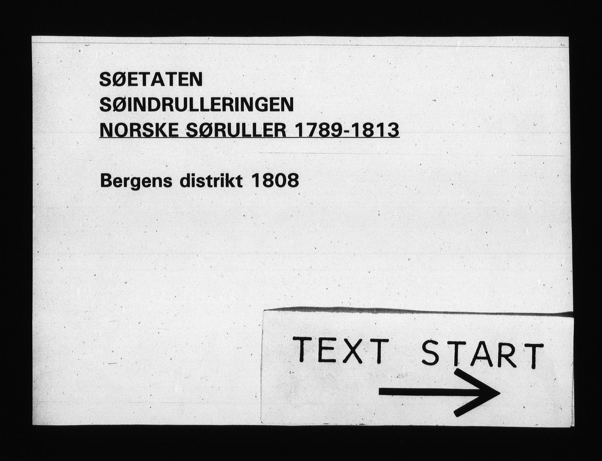 RA, Sjøetaten, F/L0247: Bergen distrikt, bind 1, 1808
