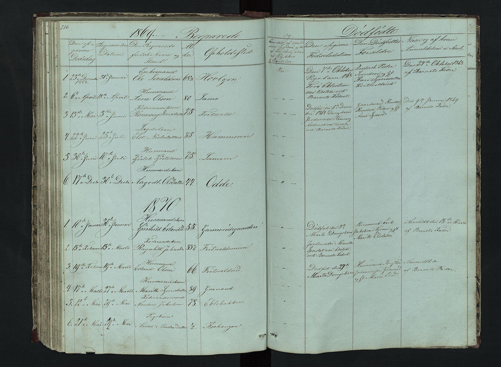 SAH, Lom prestekontor, L/L0014: Klokkerbok nr. 14, 1845-1876, s. 216-217
