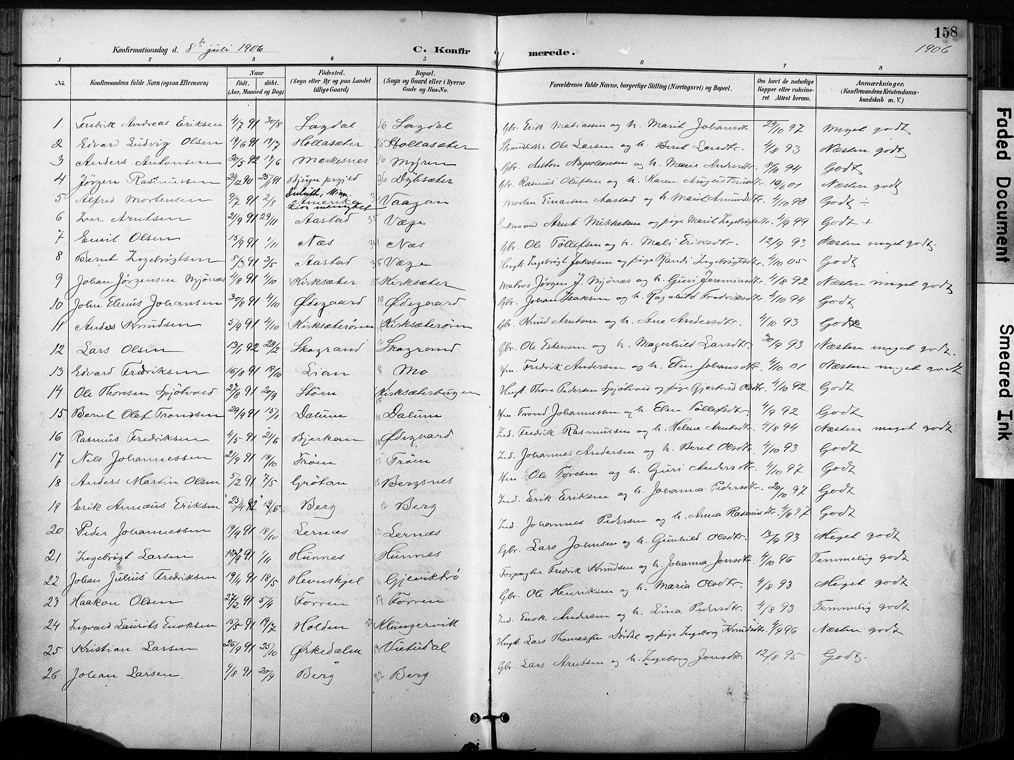 SAT, Ministerialprotokoller, klokkerbøker og fødselsregistre - Sør-Trøndelag, 630/L0497: Ministerialbok nr. 630A10, 1896-1910, s. 158