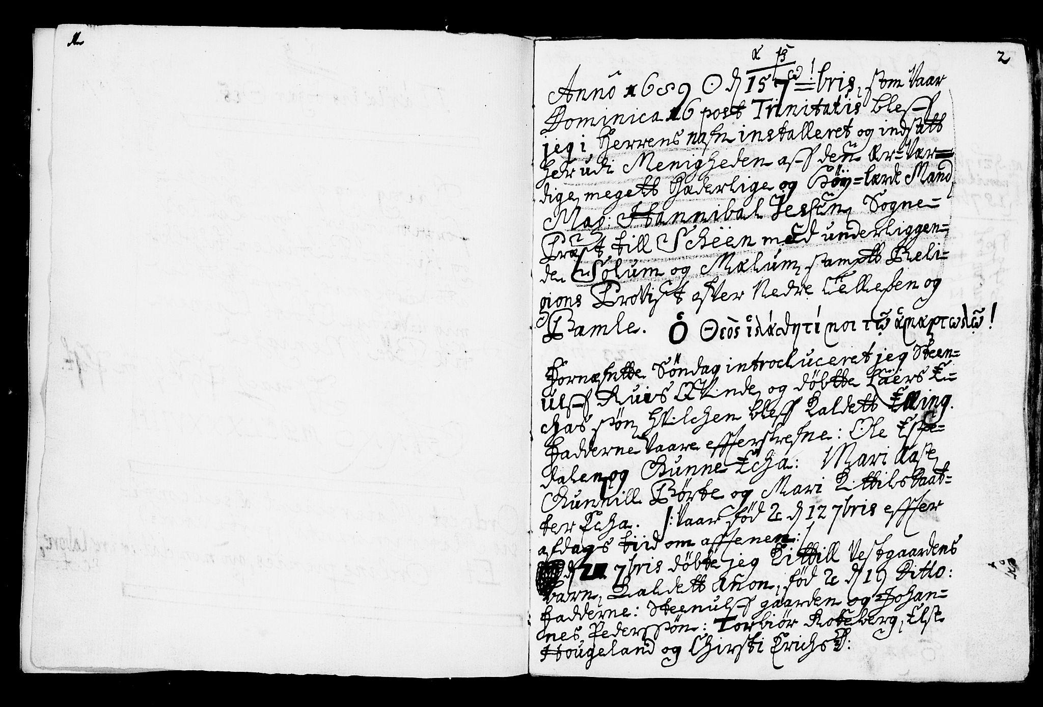 SAKO, Bø kirkebøker, F/Fa/L0001: Ministerialbok nr. 1, 1689-1699, s. 1-2