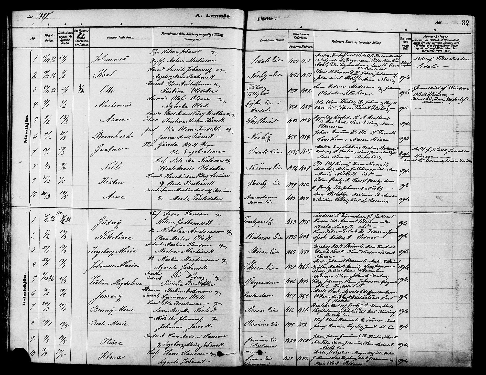 SAH, Søndre Land prestekontor, K/L0002: Ministerialbok nr. 2, 1878-1894, s. 32