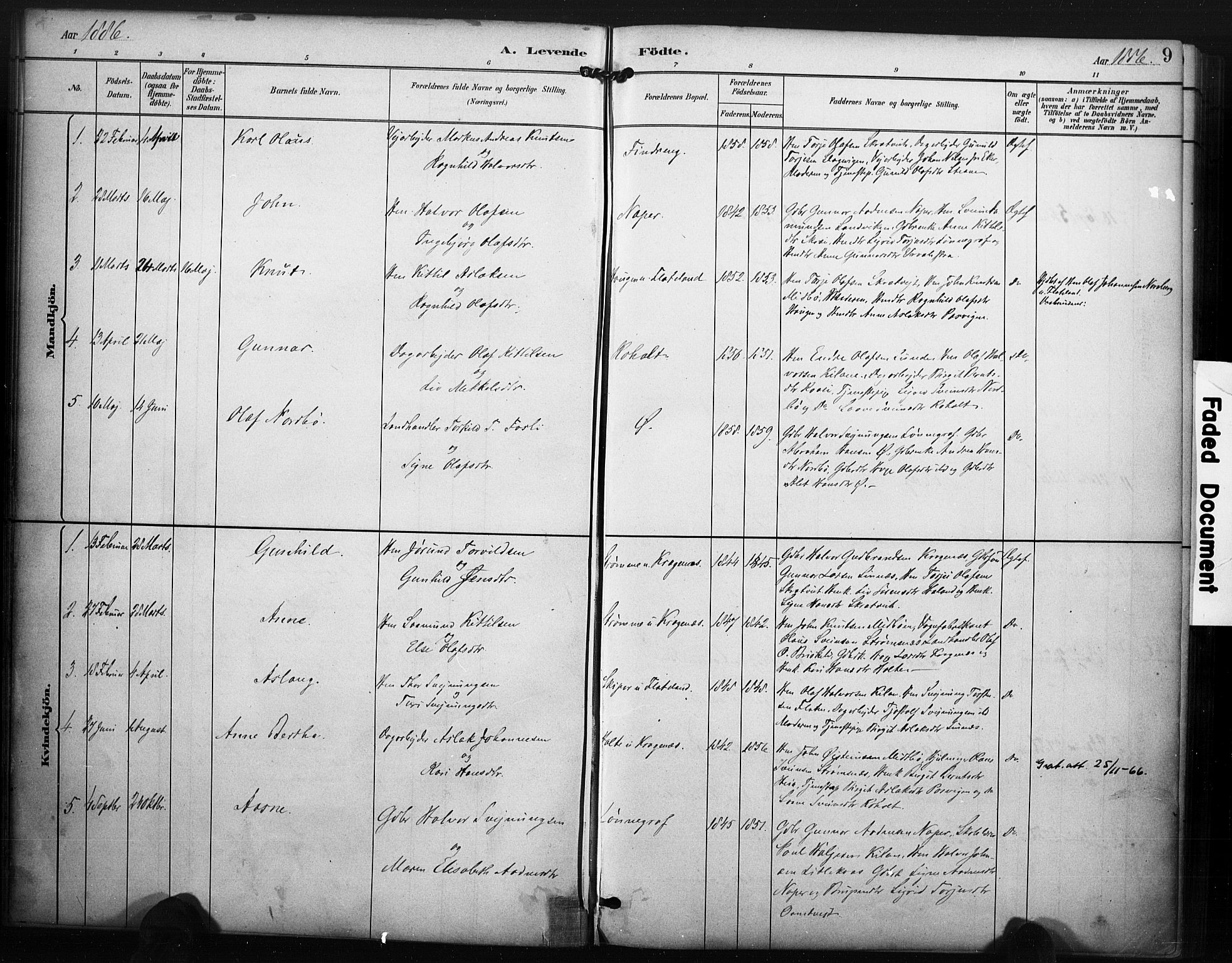 SAKO, Kviteseid kirkebøker, F/Fc/L0002: Ministerialbok nr. III 2, 1882-1908, s. 9