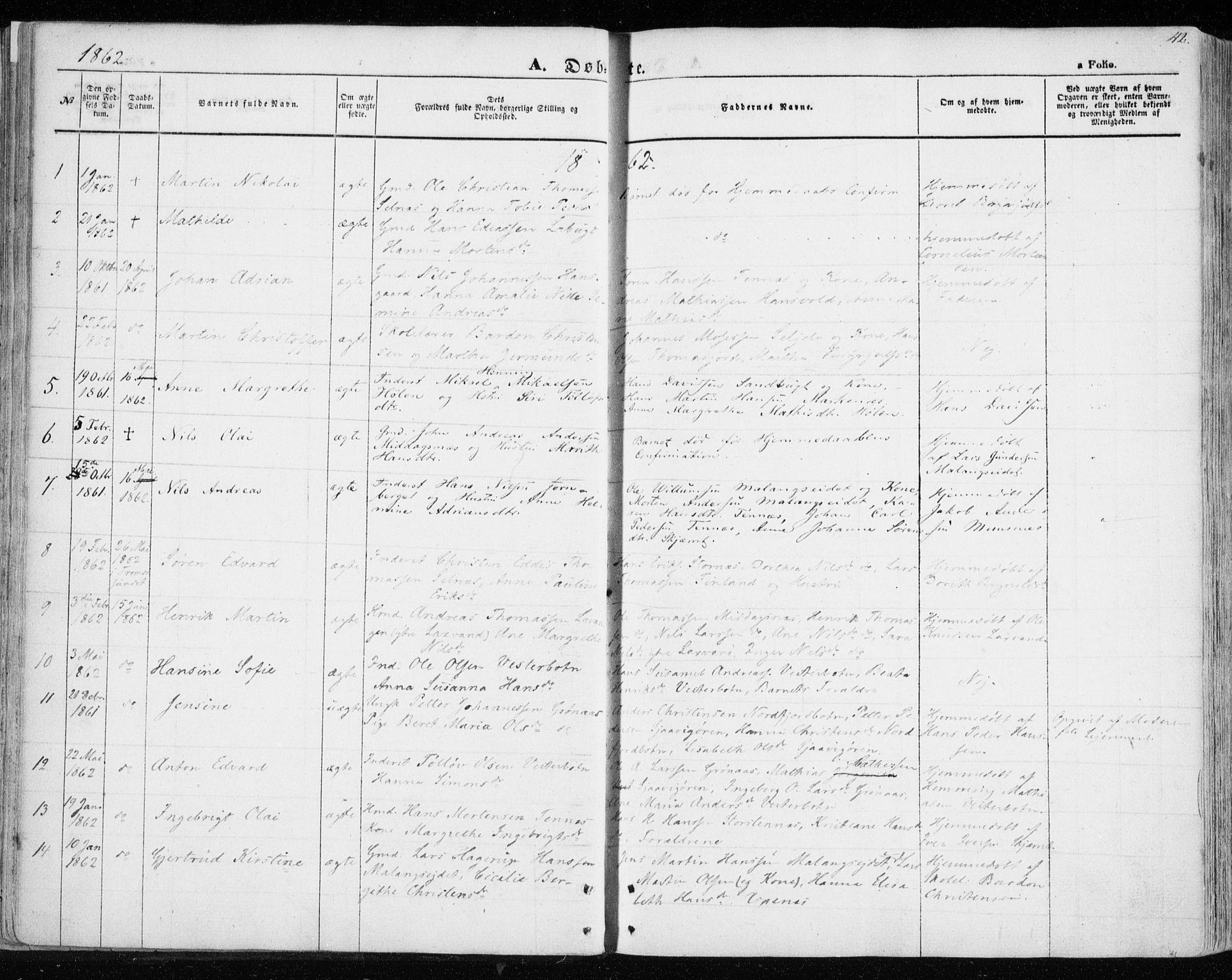 SATØ, Balsfjord sokneprestembete, Ministerialbok nr. 3, 1856-1870, s. 42