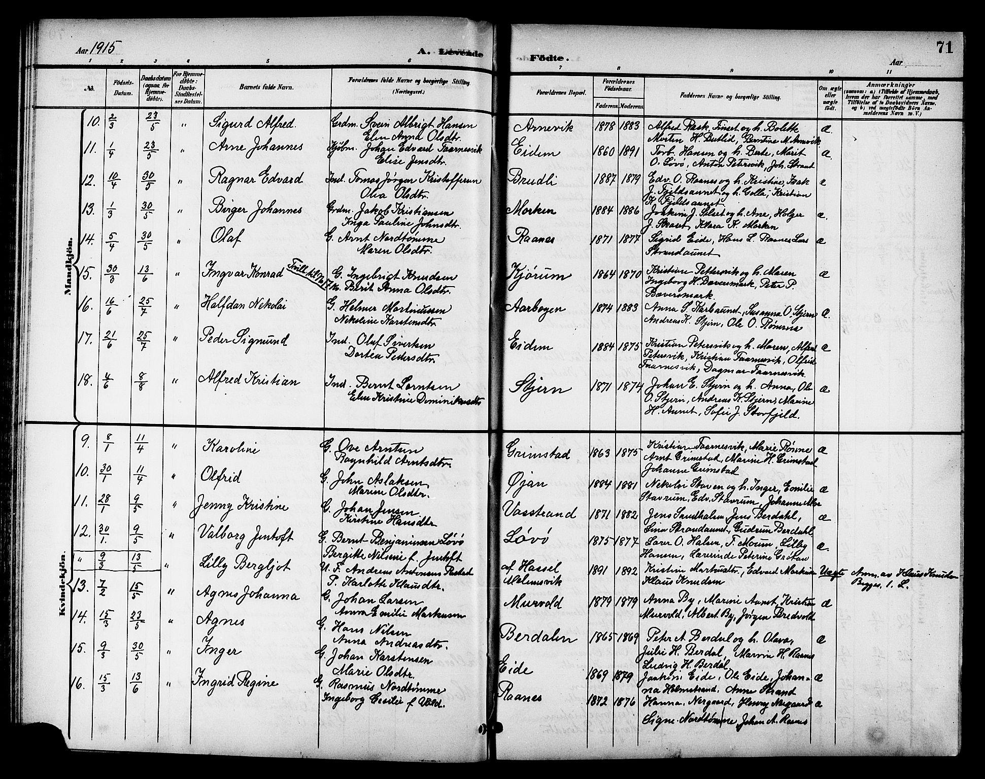 SAT, Ministerialprotokoller, klokkerbøker og fødselsregistre - Sør-Trøndelag, 655/L0688: Klokkerbok nr. 655C04, 1899-1922, s. 71