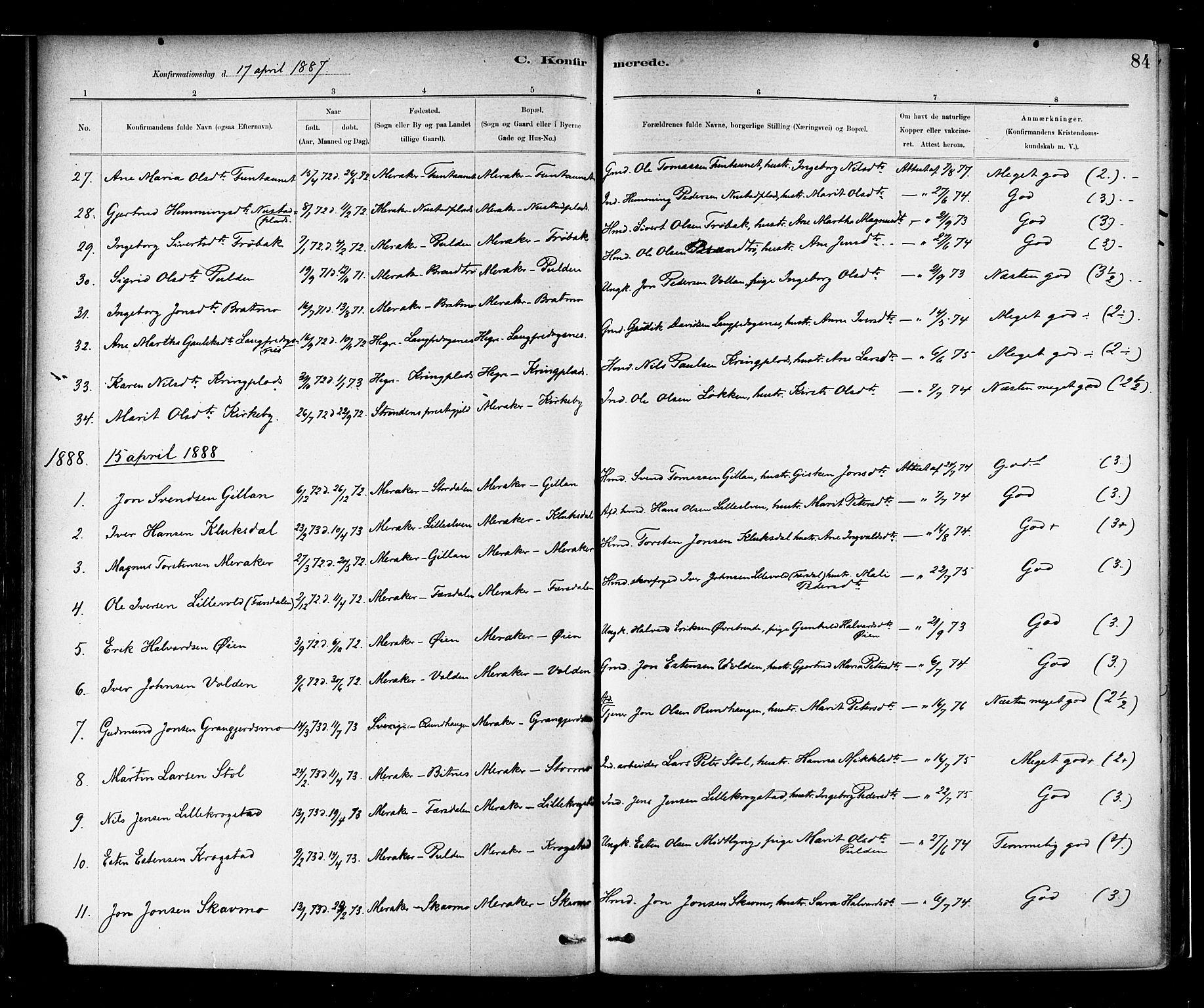 SAT, Ministerialprotokoller, klokkerbøker og fødselsregistre - Nord-Trøndelag, 706/L0047: Ministerialbok nr. 706A03, 1878-1892, s. 84