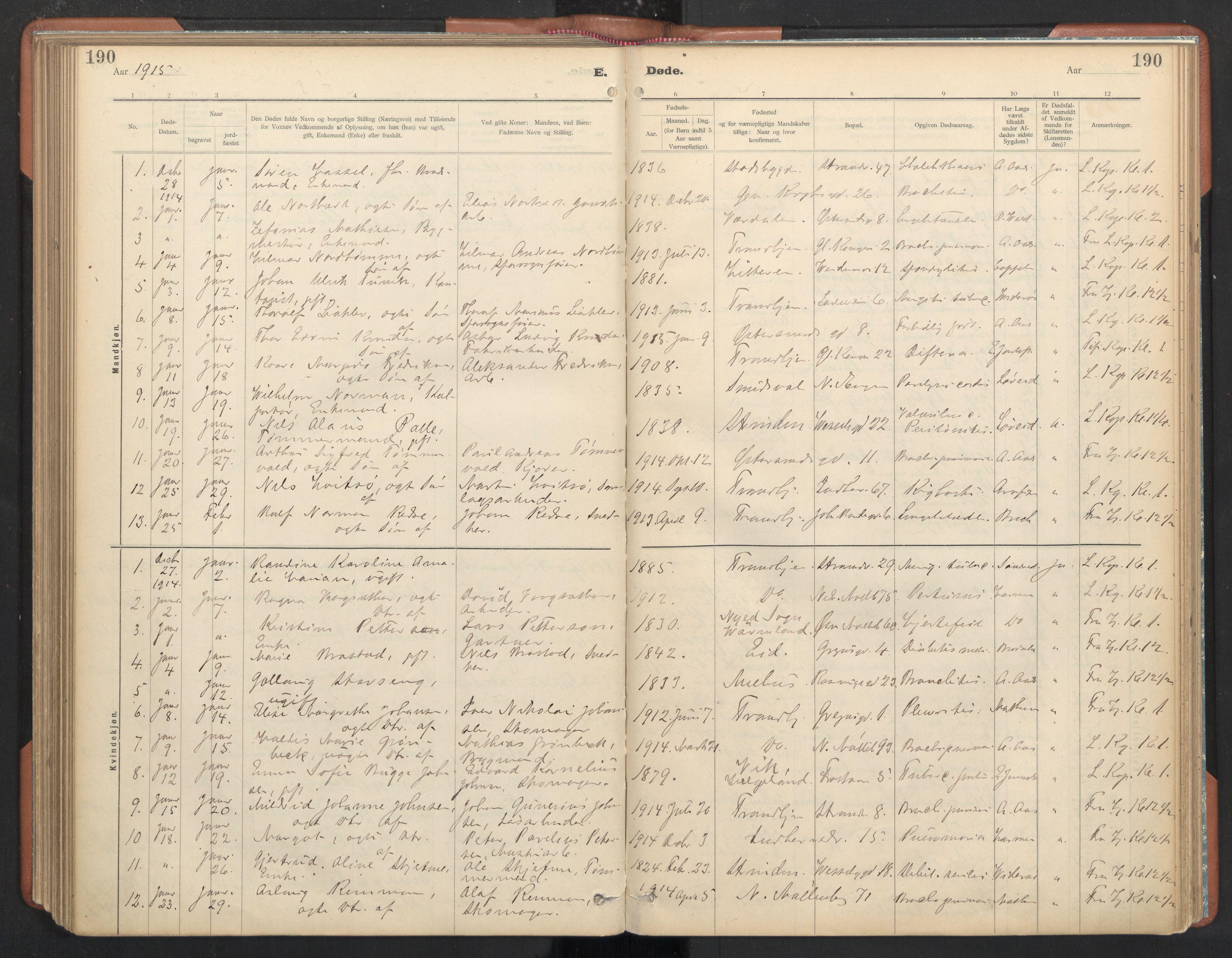 SAT, Ministerialprotokoller, klokkerbøker og fødselsregistre - Sør-Trøndelag, 605/L0244: Ministerialbok nr. 605A06, 1908-1954, s. 190
