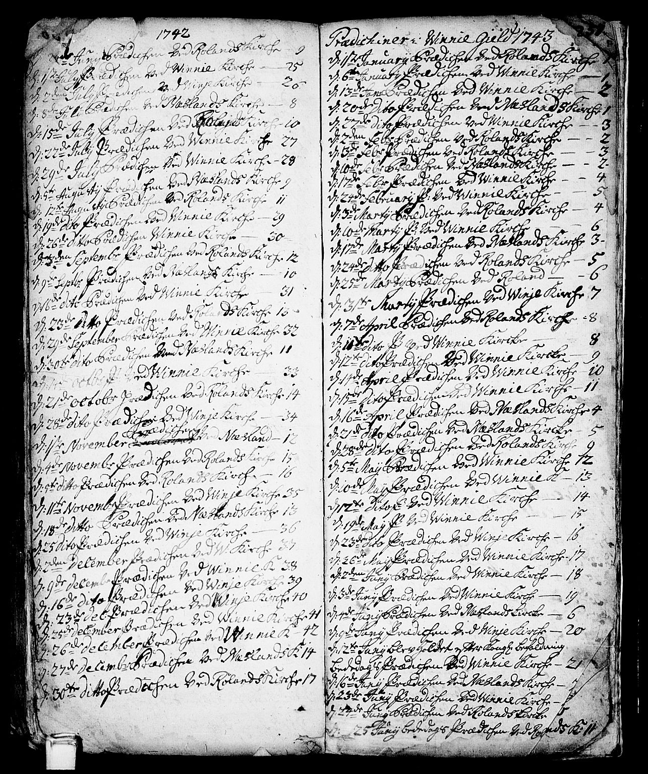 SAKO, Vinje kirkebøker, F/Fa/L0001: Ministerialbok nr. I 1, 1717-1766, s. 257