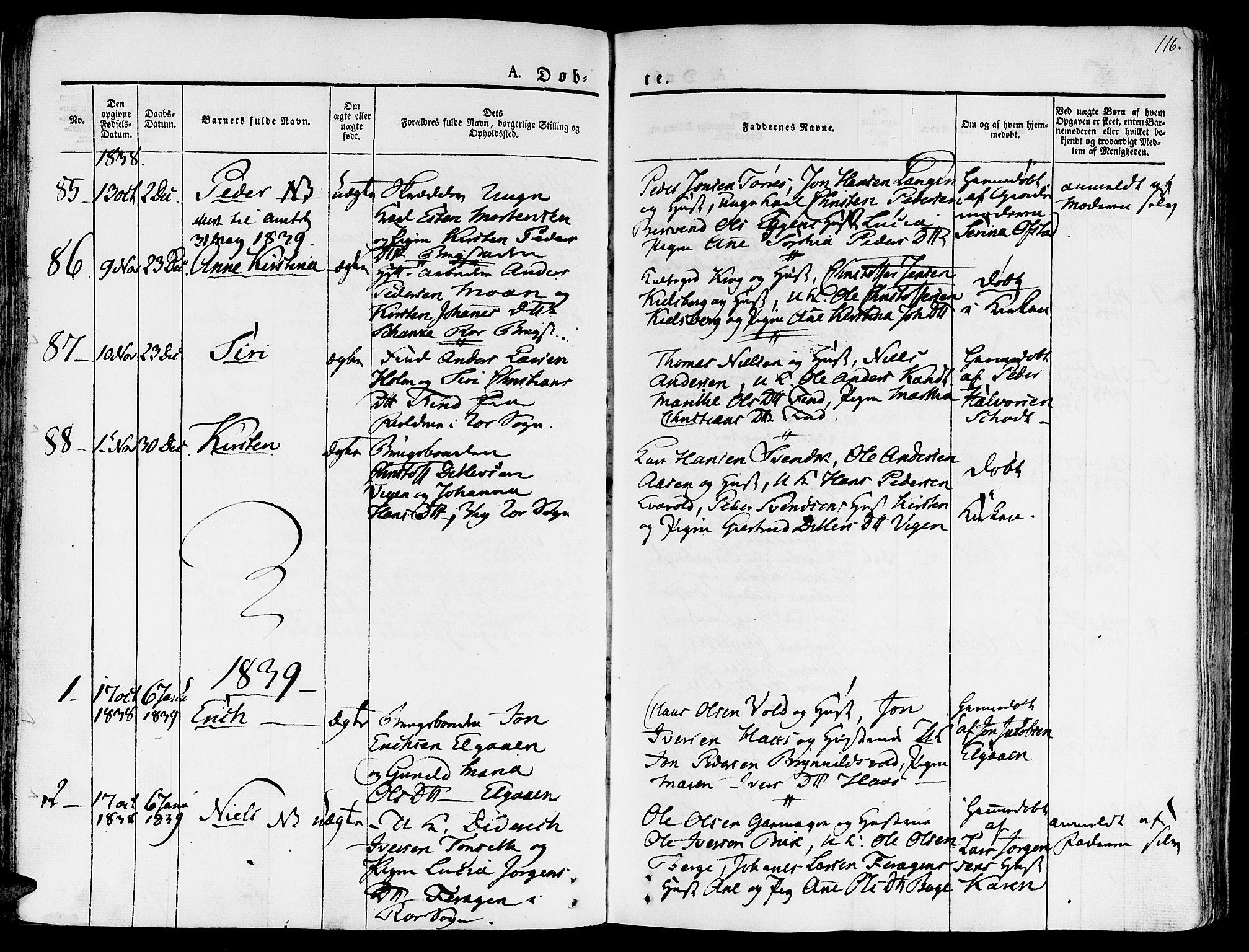 SAT, Ministerialprotokoller, klokkerbøker og fødselsregistre - Sør-Trøndelag, 681/L0930: Ministerialbok nr. 681A08, 1829-1844, s. 116