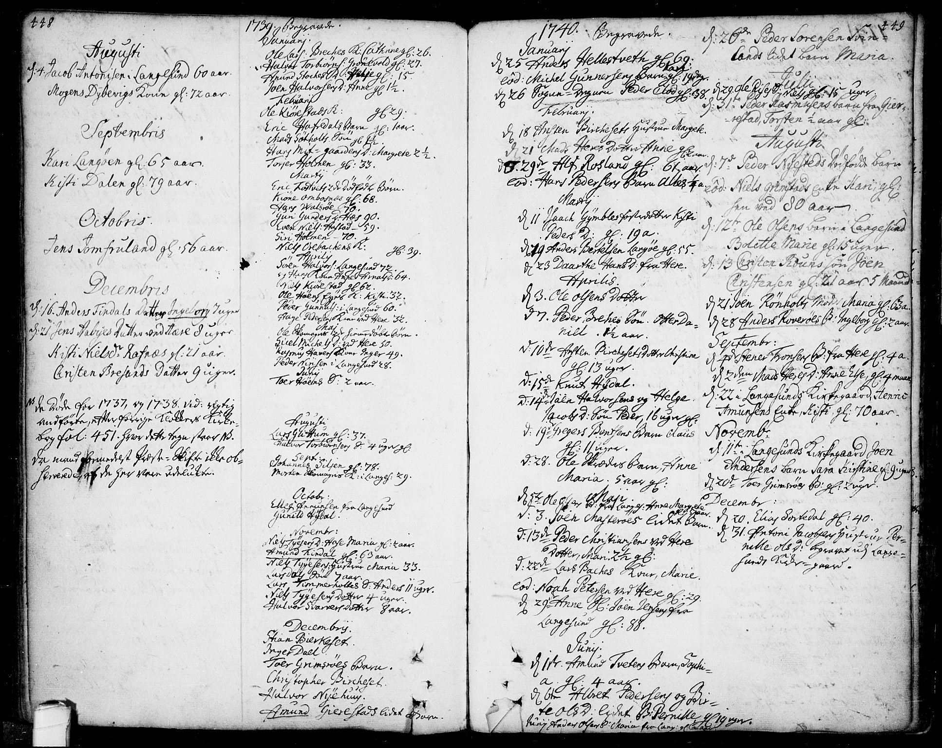 SAKO, Bamble kirkebøker, F/Fa/L0001: Ministerialbok nr. I 1, 1702-1774, s. 448-449